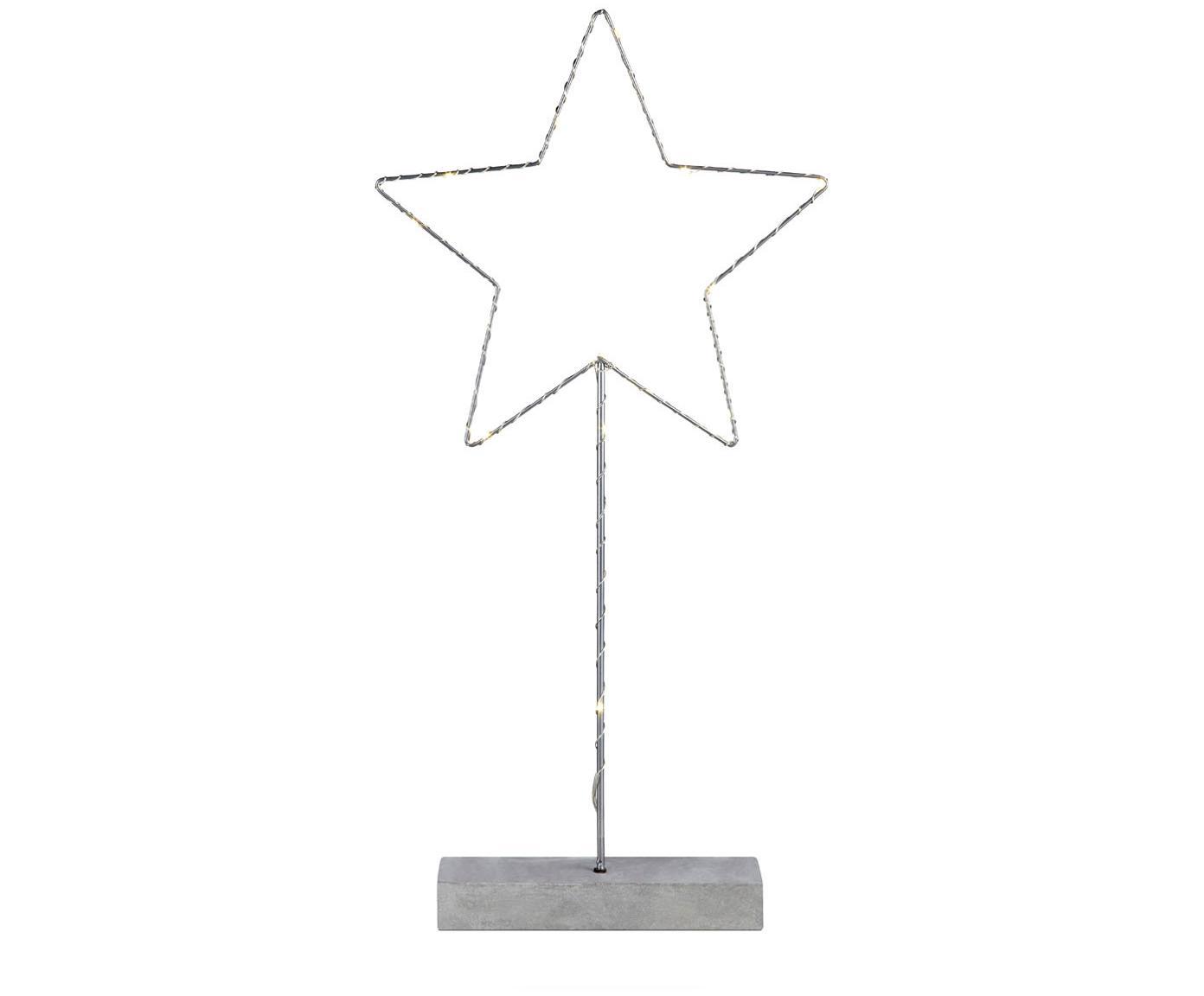Lampada LED a forma di stella Malin, Metallo verniciato, Grigio, L 26 x A 51 cm