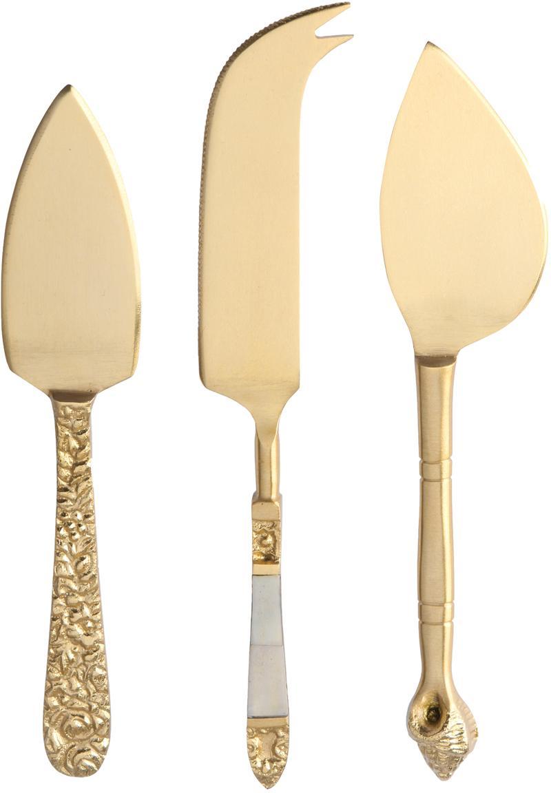 Set 3 coltelli per formaggi Cheese, Coltello: acciaio inossidabile, ott, Decorazione: madreperla, Ottone, Set in varie misure