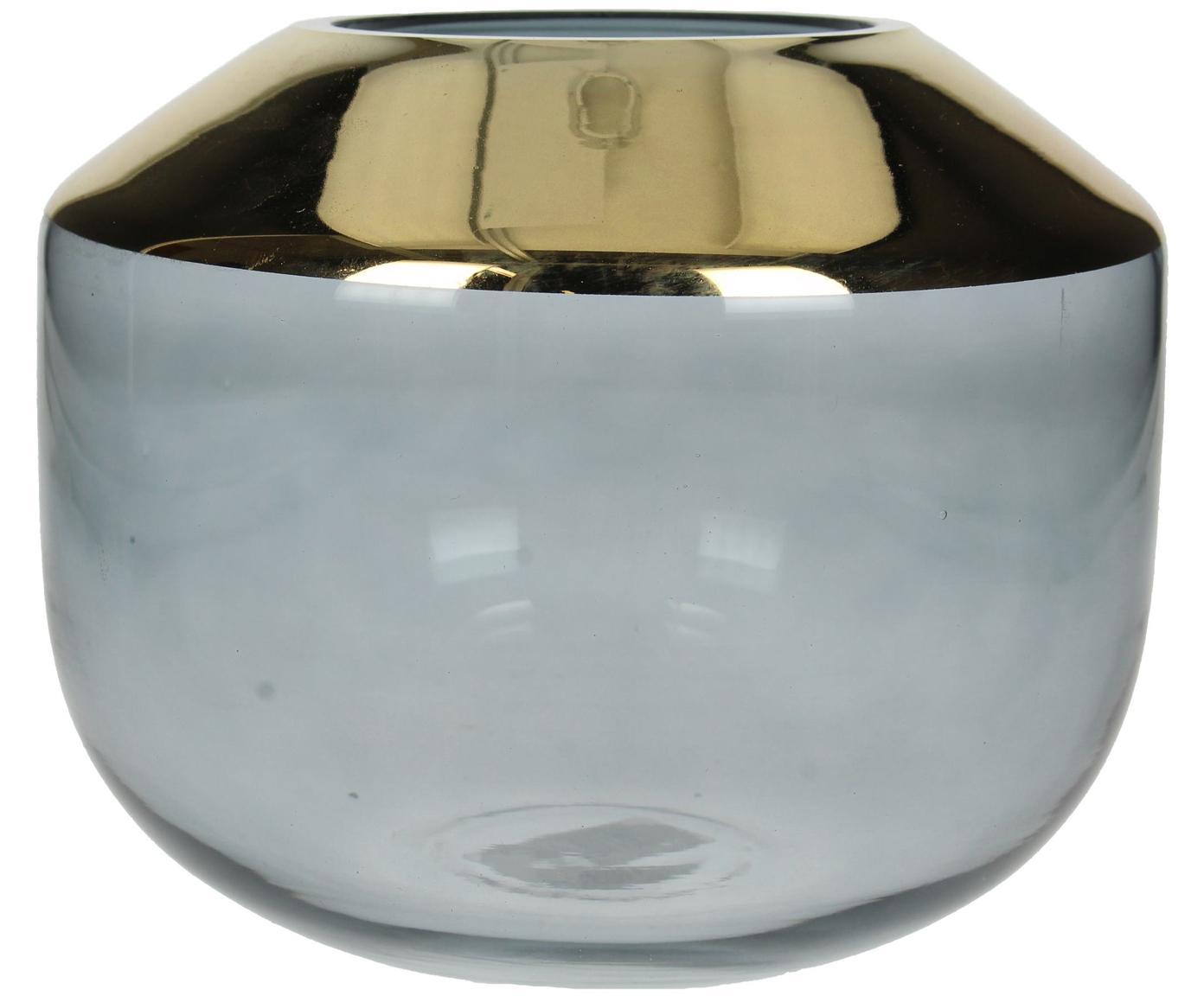 Glas-Vase Janak, Glas, Grau, transparent, Goldfarben, Ø 18 x H 15 cm