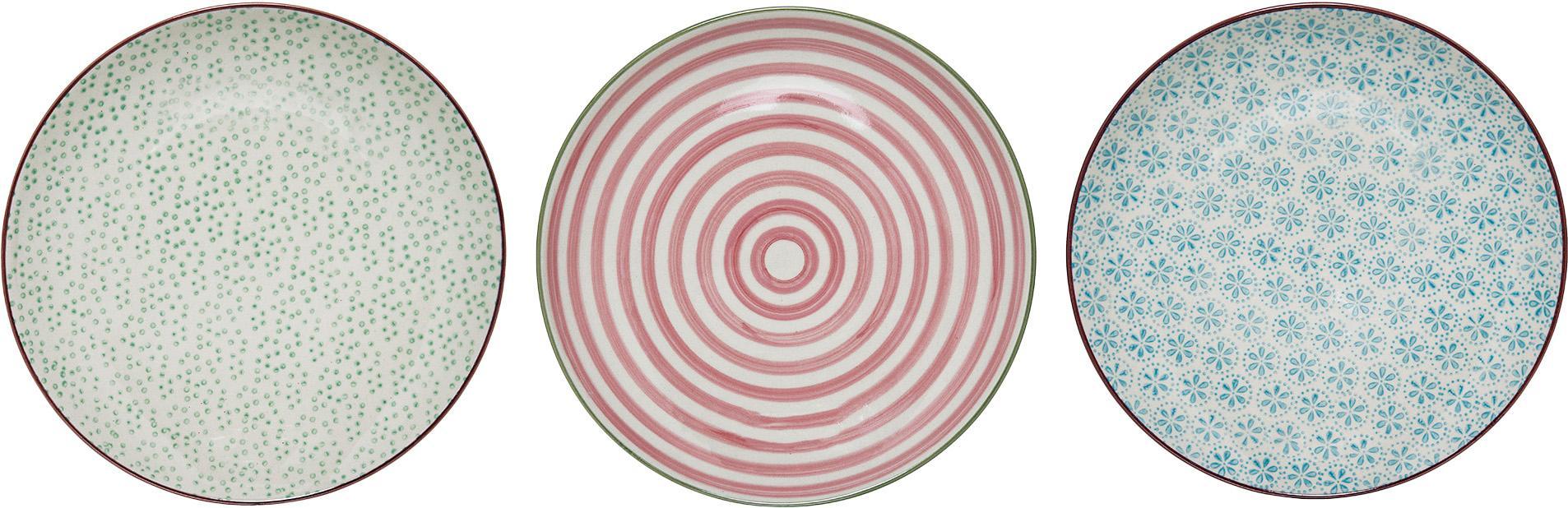 Handbemalte Frühstücksteller Patrizia mit kleinem Muster, 3er-Set, Steingut, Weiß, Grün, Rot, Blau, Ø 20 cm