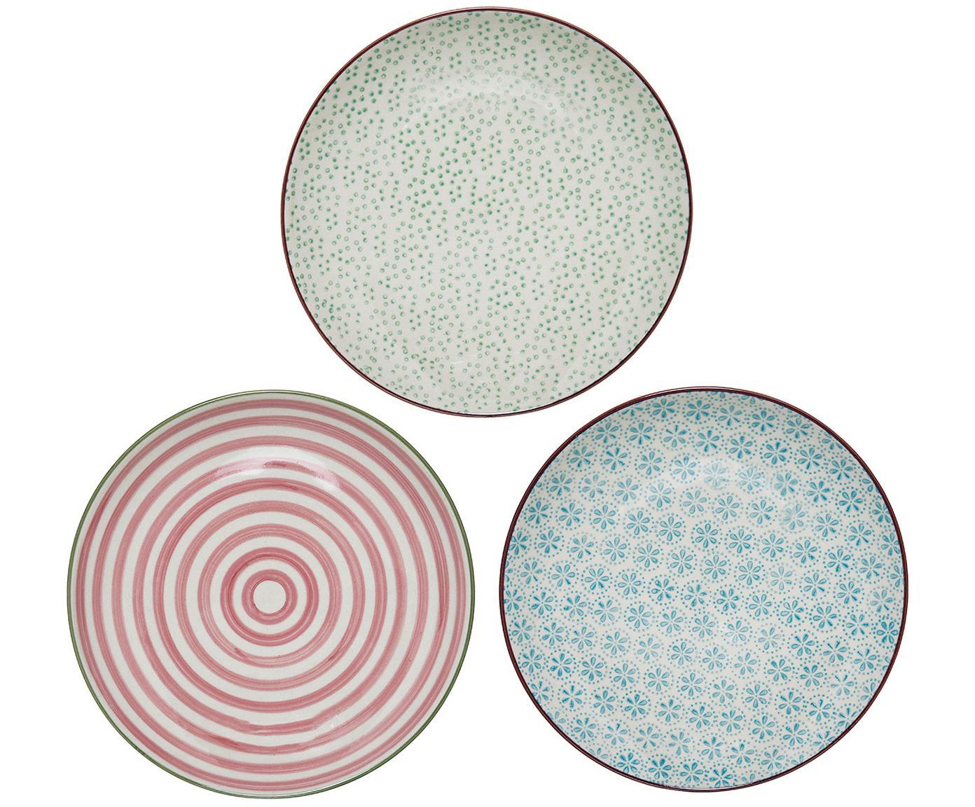 Frühstücksteller Patrizia mit kleinem Muster, 3er-Set, Steingut, Weiß, Grün, Rot, Blau, Ø 20 cm