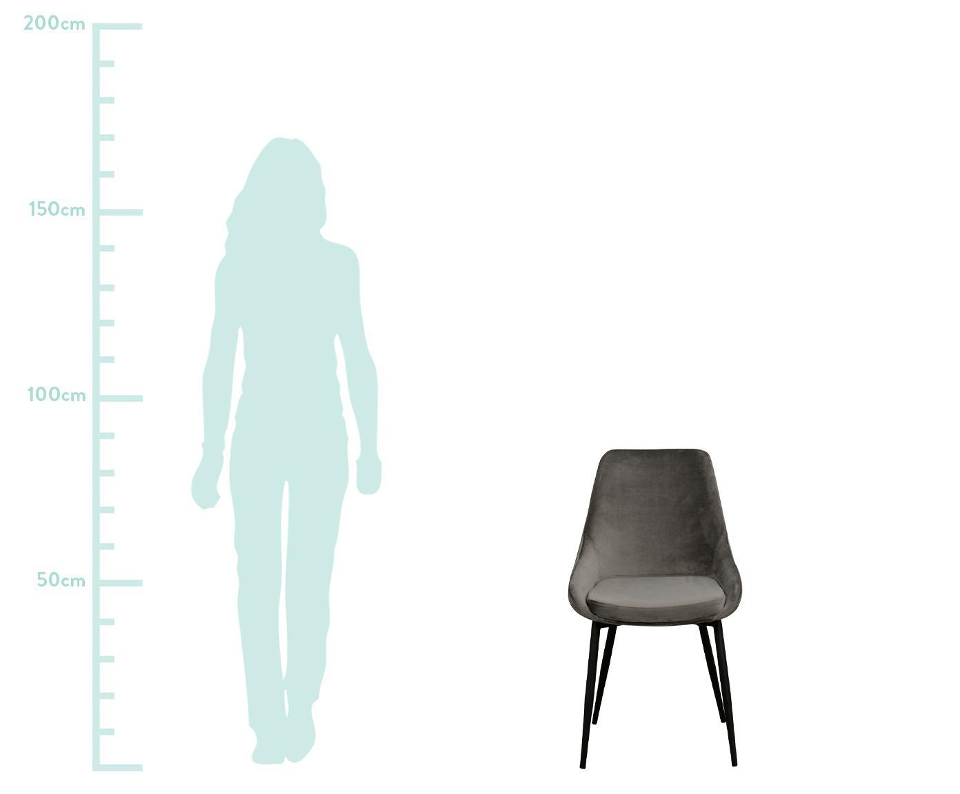 Krzesło tapicerowane z aksamitu Sierra, 2 szt., Tapicerka: aksamit poliestrowy 1000, Nogi: metal lakierowany, Szary, czarny, S 49 x G 55 cm