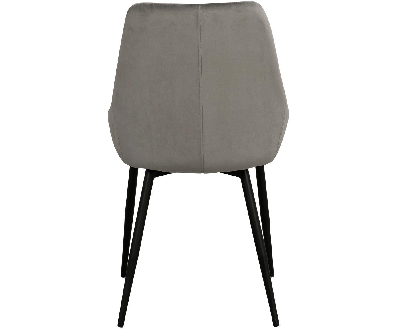 Sedia imbottita in velluto Sierra 2 pz, Rivestimento: poliestere 100.000 cicli , Gambe: metallo laccato, Grigio, nero, Larg. 49 x Prof. 55 cm