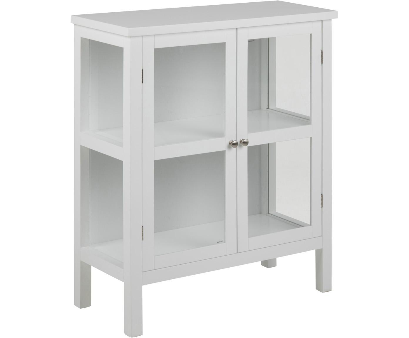 Vitrinekast Eton met houten frame, Frame: gelakt MDF, Wit, 80 x 100 cm