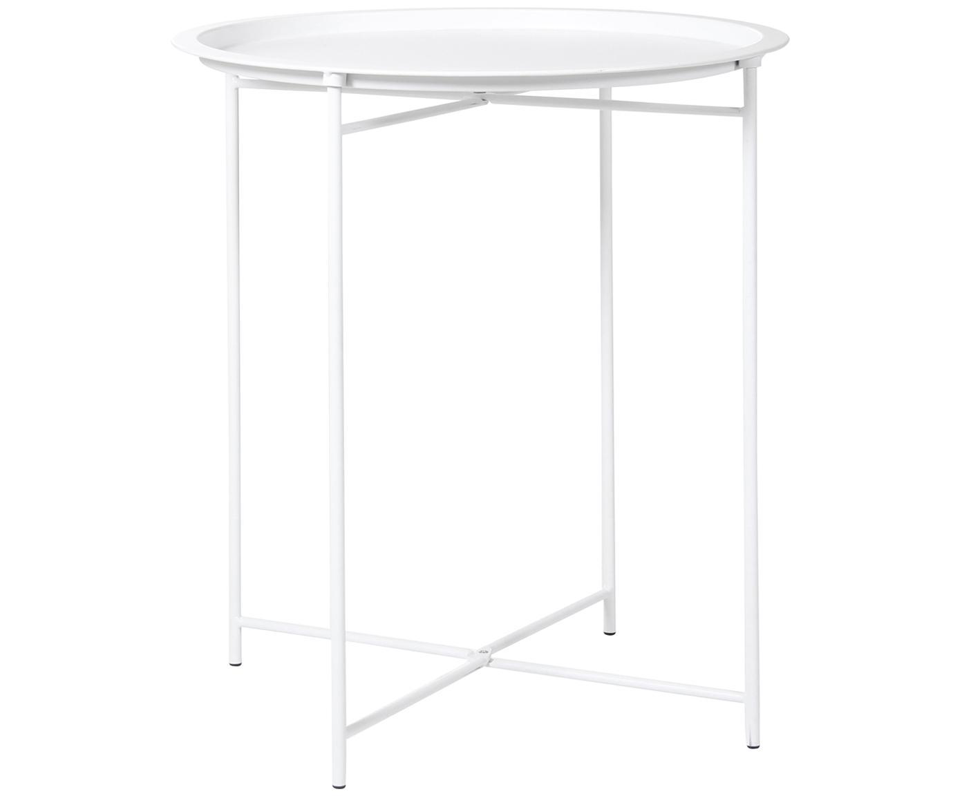 Mesa auxiliar con bandeja extraíble de metal Sangro, Metal con pintura en polvo, Blanco, Ø 46 x Al 52 cm
