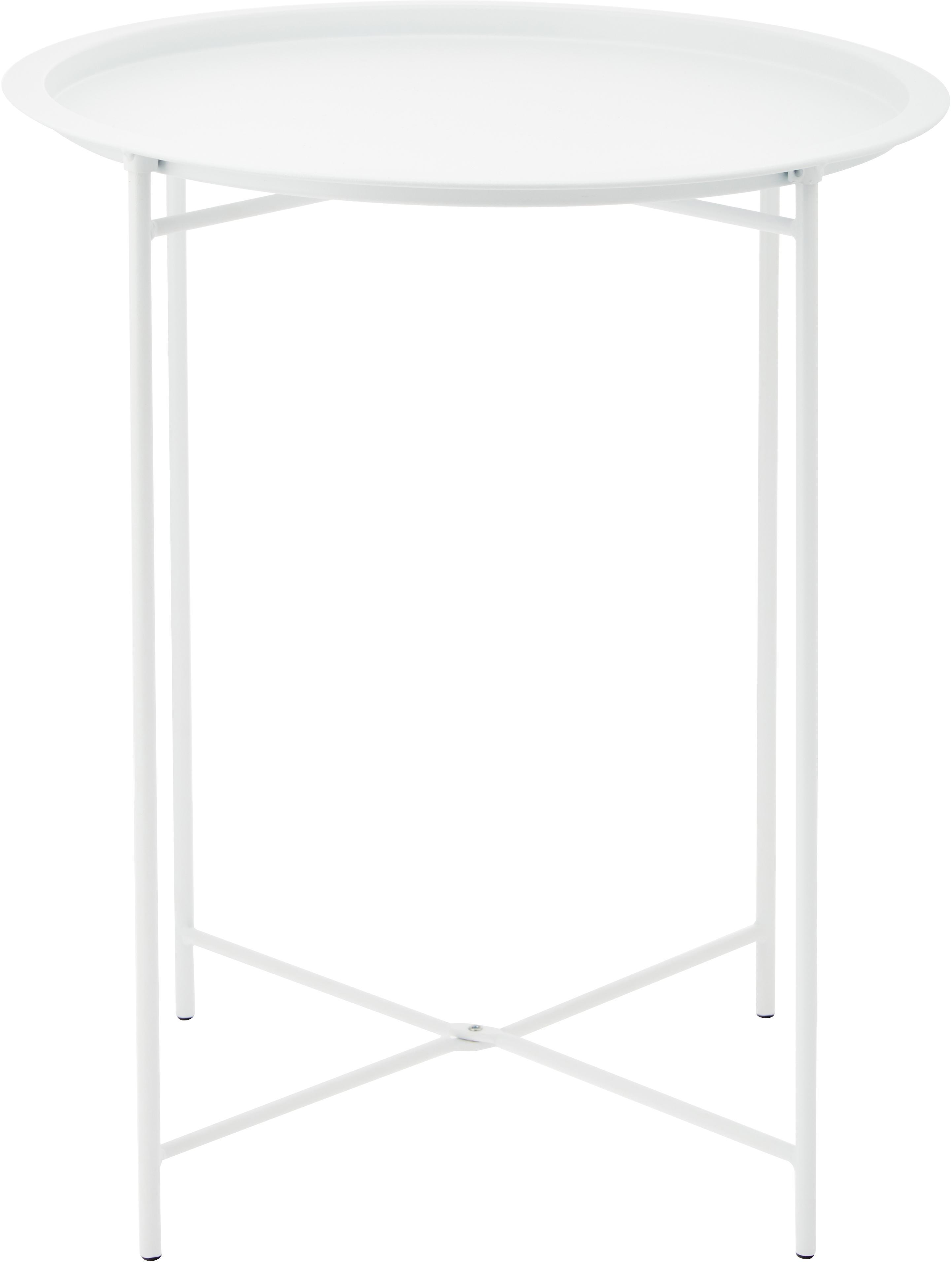 Tablett-Tisch Sangro aus Metall, Metall, pulverbeschichtet, Weiß, Ø 46 x H 52 cm