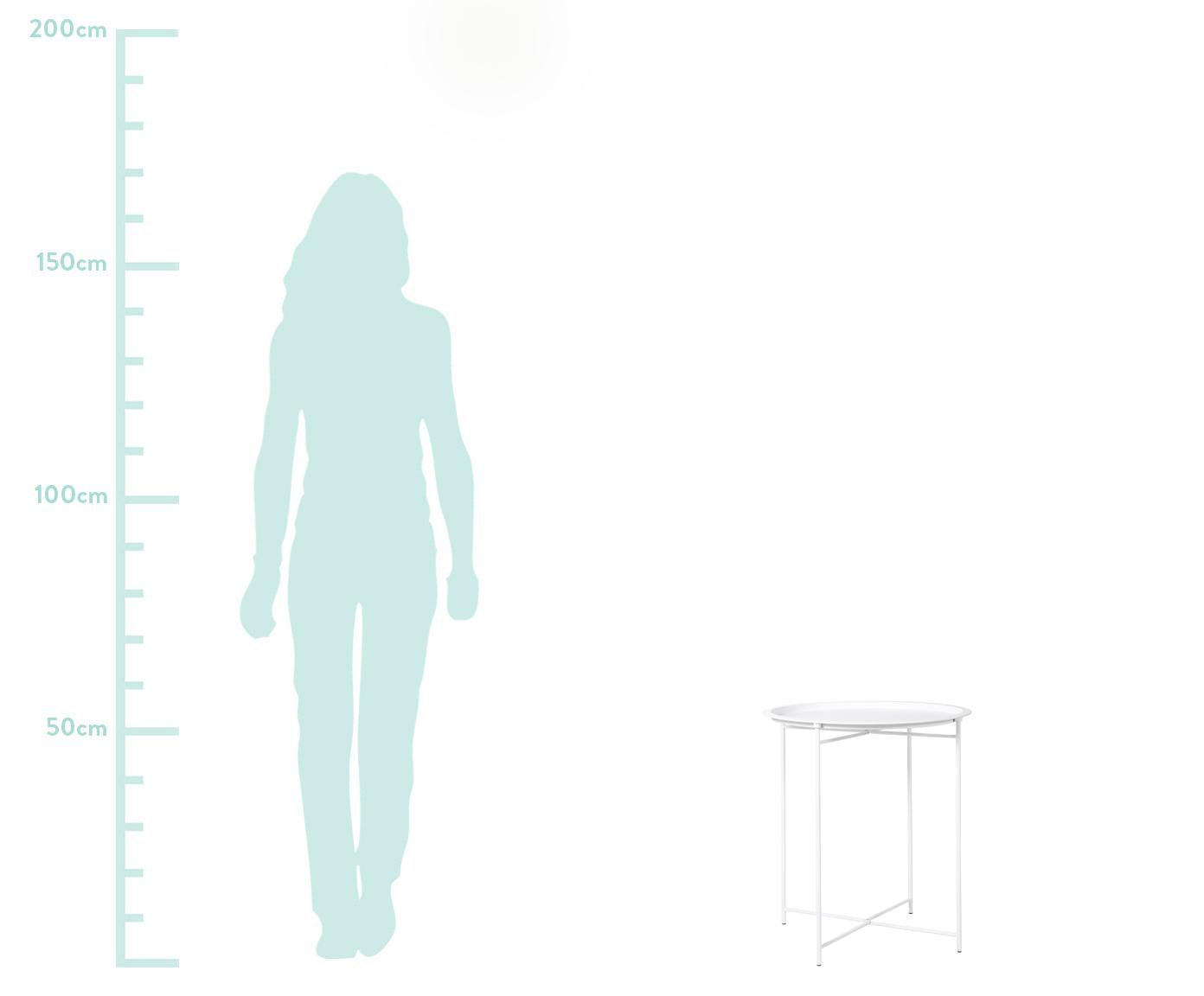 Tavolino-vassoio in metallo Sangro, Acciaio, verniciato, Bianco, Ø 46 x Alt. 52 cm
