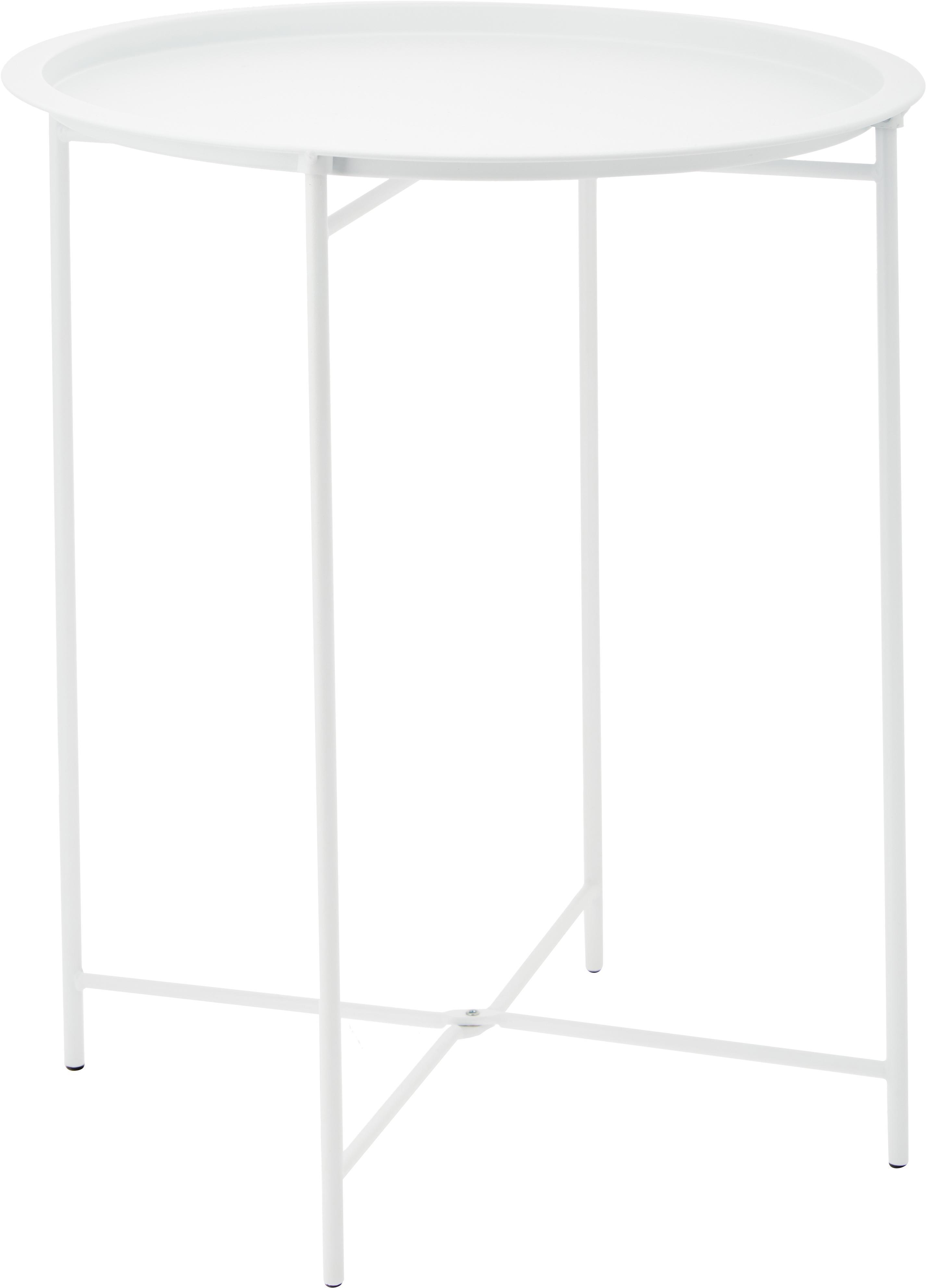 Bijzettafel Sangro, Gelakt staal, Wit, Ø 46 x H 52 cm