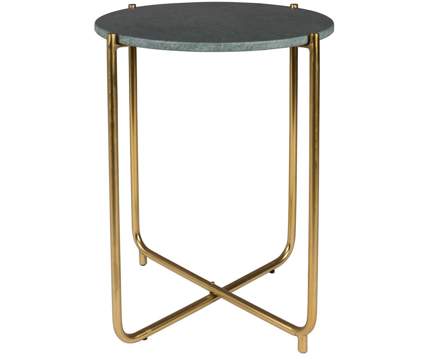 Okrągły stolik pomocniczy z marmuru Timpa, Blat: marmur, Nogi: metal mosiądzowany, Blat: zielony, marmurowy Nogi: mosiądz, Ø 45 x W 54 cm