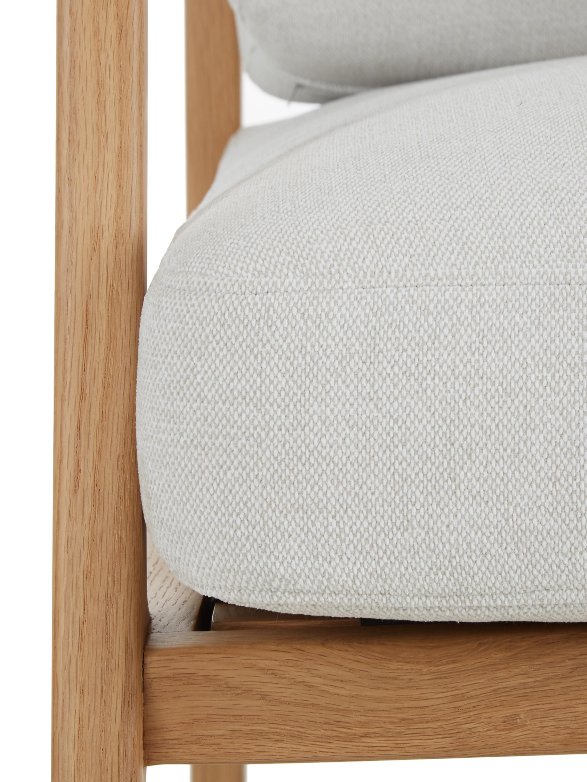 Sedia a poltrona con braccioli in legno di quercia Becky, Rivestimento: poliestere 35.000 cicli d, Struttura: legno massello di rovere, Tessuto intrecciato beige, legno di quercia, Larg. 73 x Prof. 90 cm