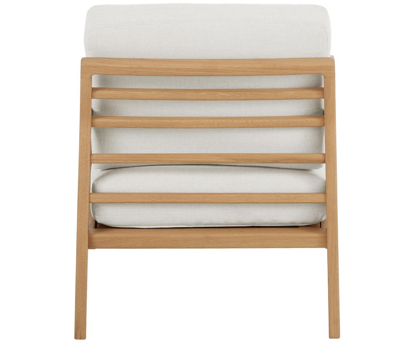 Fotel z podłokietnikami z drewna dębowego Becky, Tapicerka: poliester 35 000 cykli w , Stelaż: lite drewno dębowe, Beżowy, drewno dębowe, S 73 x G 90 cm
