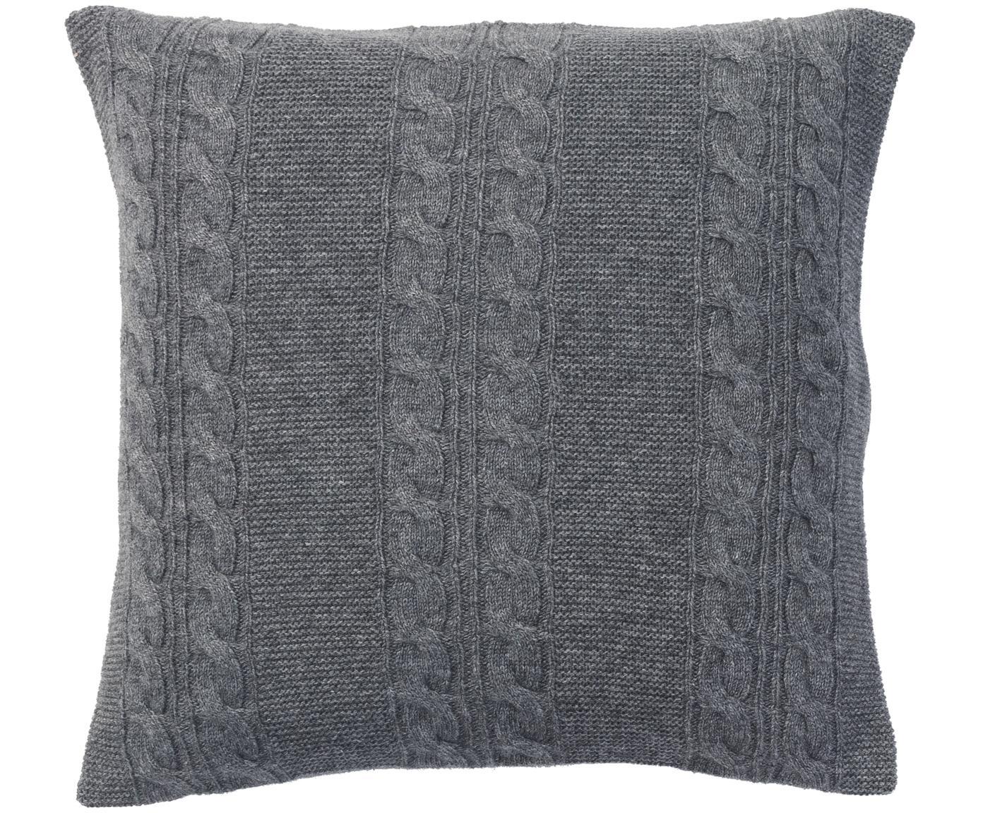 Reine Kaschmir-Kissenhülle Leonie mit Zopfmuster, 100% Kaschmir Kaschmir ist besonders weich, angenehm und wärmend, Dunkelgrau, 40 x 40 cm