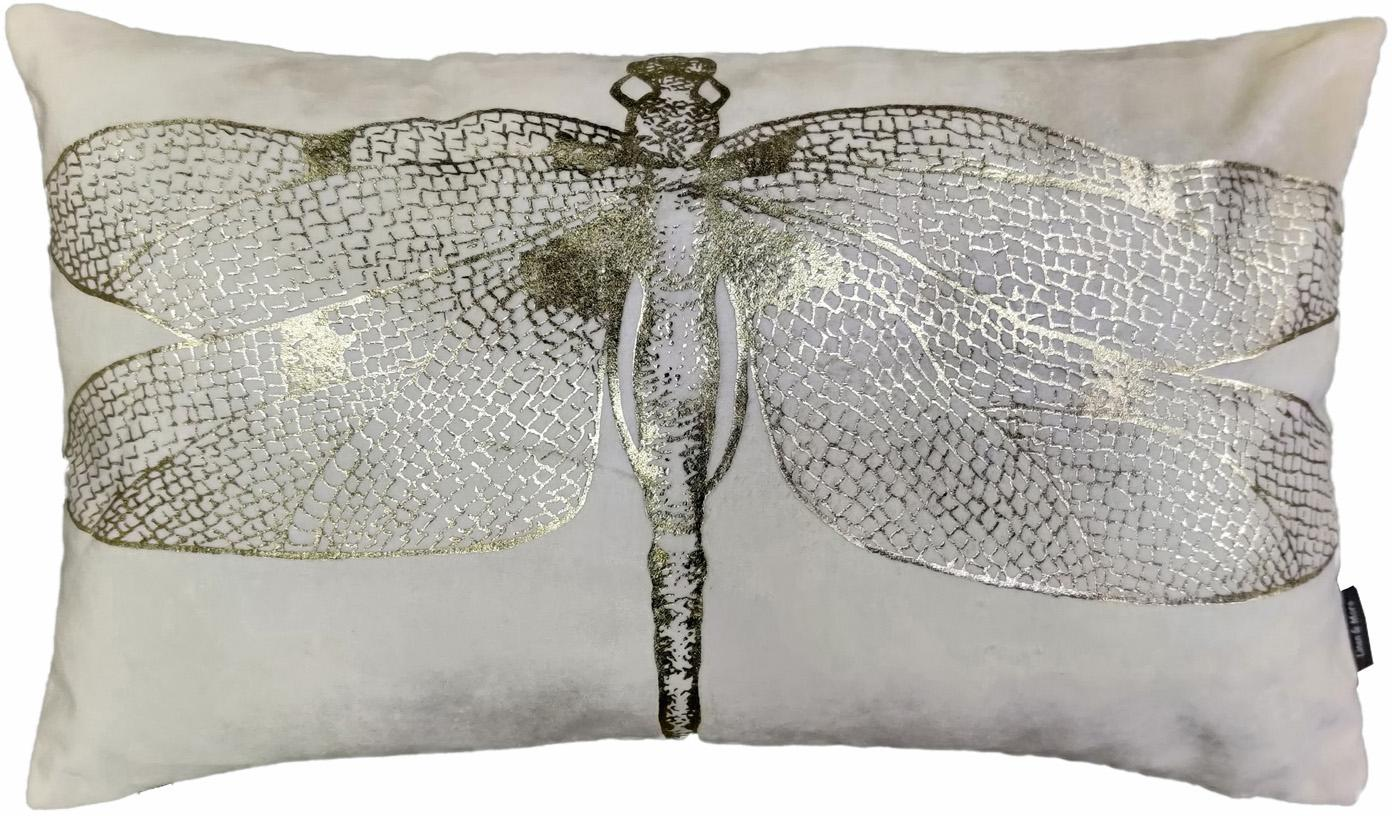 Kussen Dragonfly, met vulling, Wit, goudkleurig, 30 x 50 cm