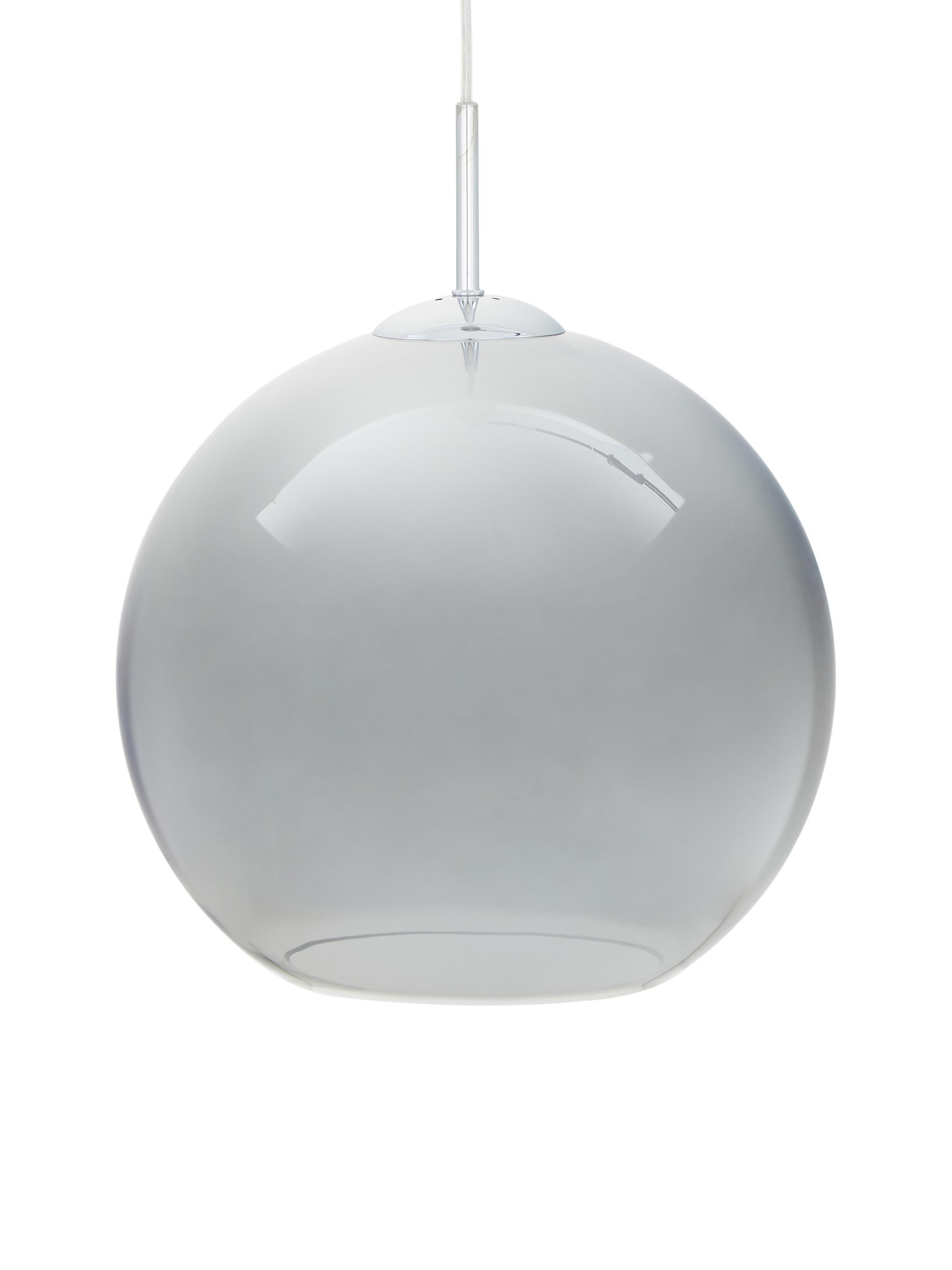 Lampada a sospensione in vetro Soleil, Baldacchino: metallo cromato, Paralume: vetro, Cromo, grigio, Ø 30 cm
