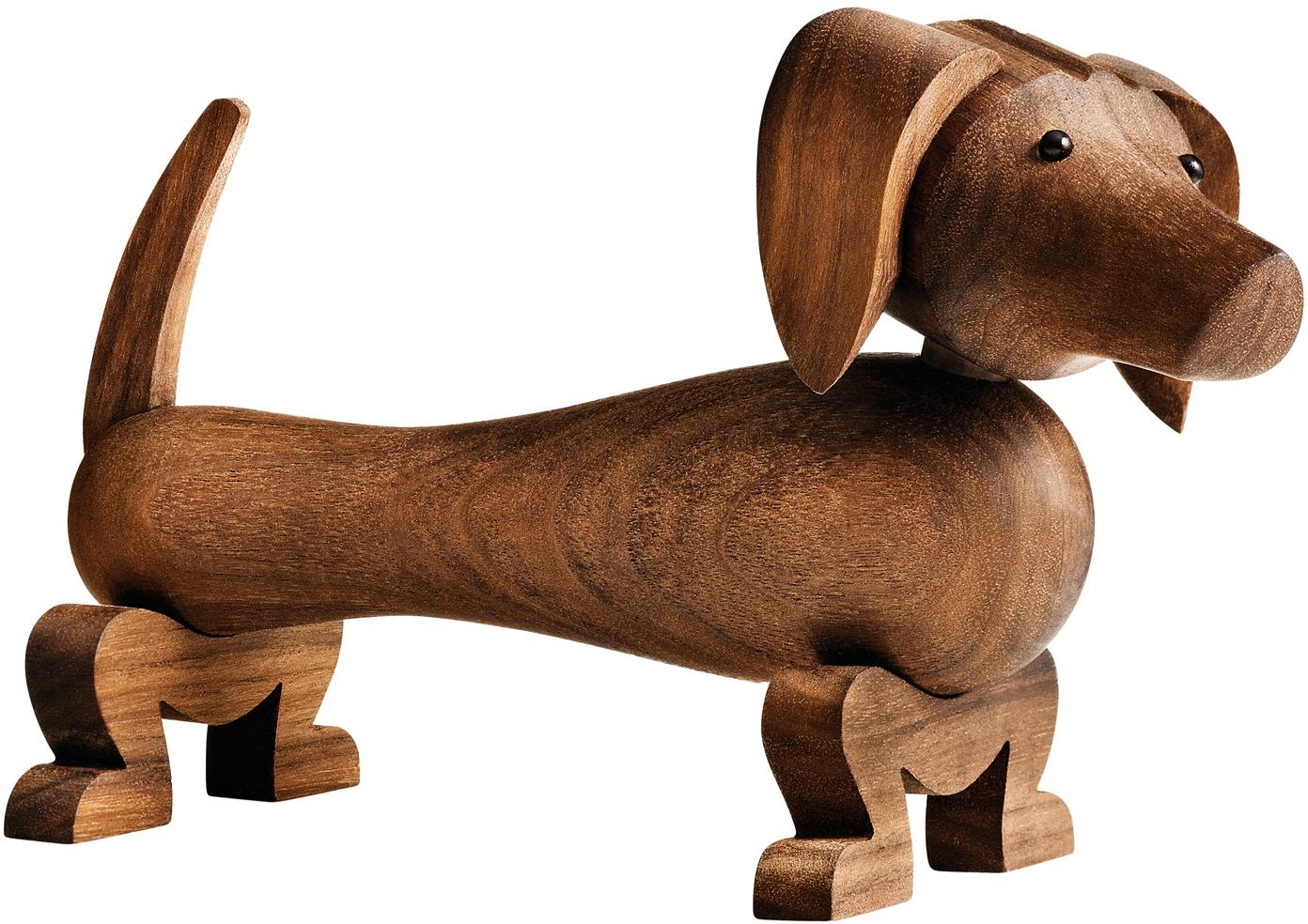 Designer-Deko-Objekt Dog, Walnussholz, lackiert, Walnussholz, 18 x 11 cm