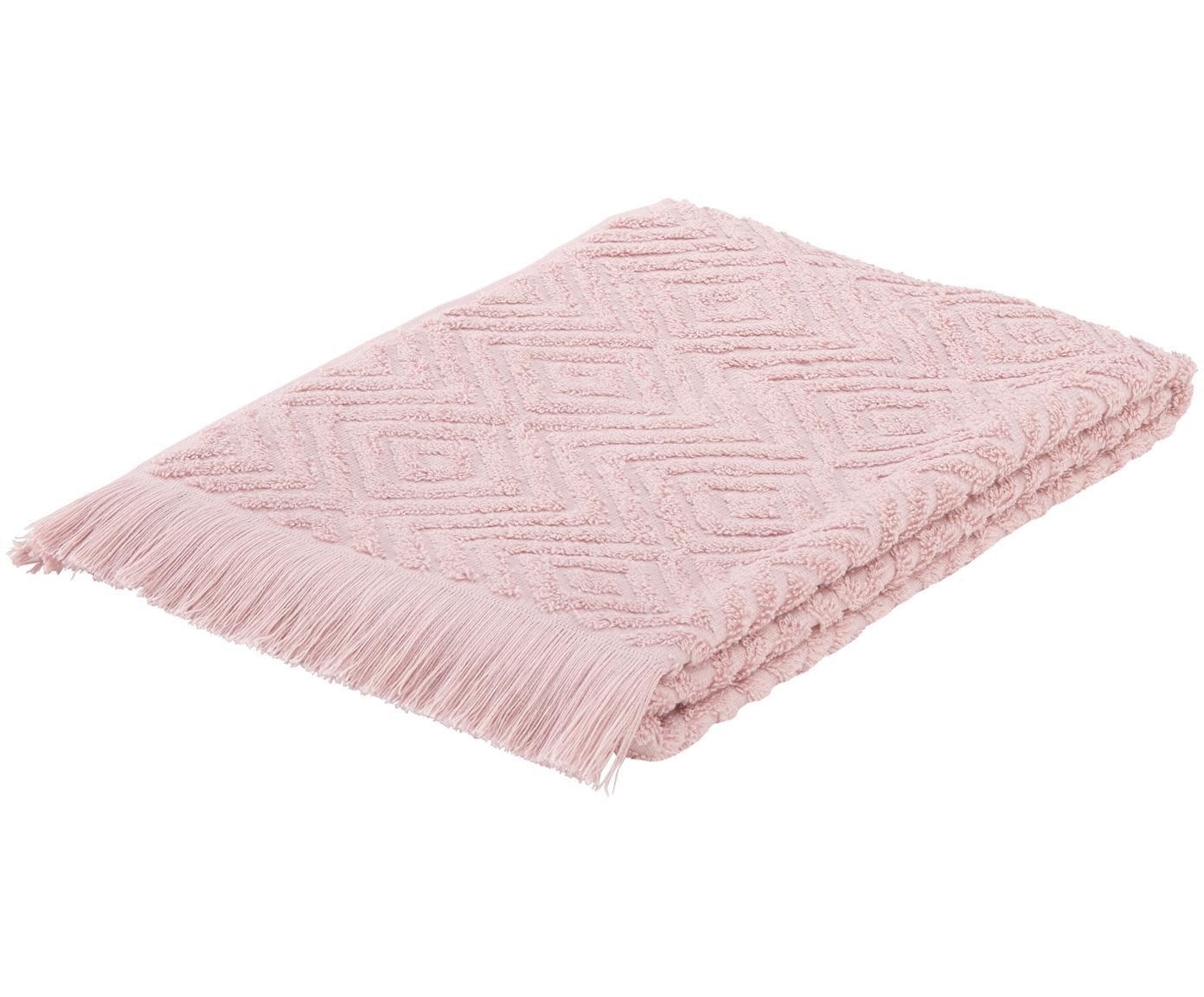 Handtuch Jacqui mit Hoch-Tief-Muster, Rosa, Gästehandtuch