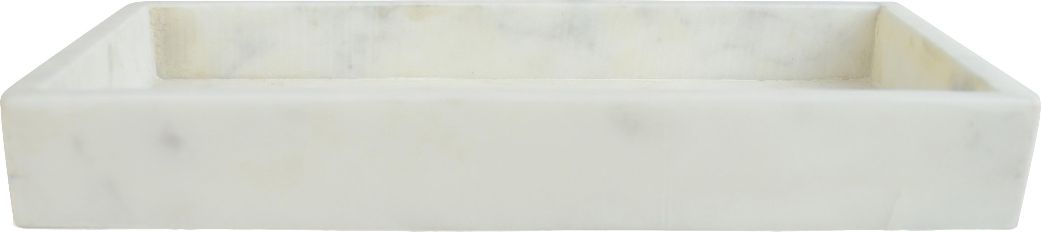 Deko-Marmor-Tablett Mera, Marmor, Weiss, marmoriert, B 30 x T 15 cm