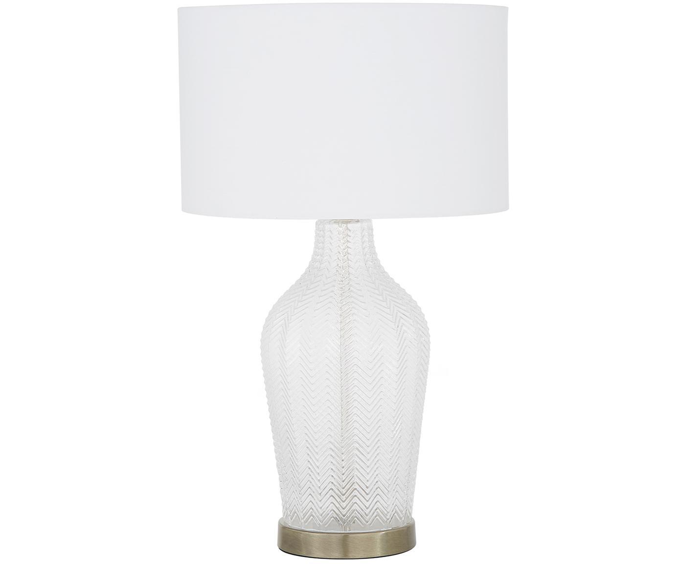 Tafellamp Sue, Lampenkap: textiel, Lampvoet: glas, vermessingd metaal, Lampenkap: wit lampvoet: transparant, geborsteld messing, Ø 33 x H 55 cm