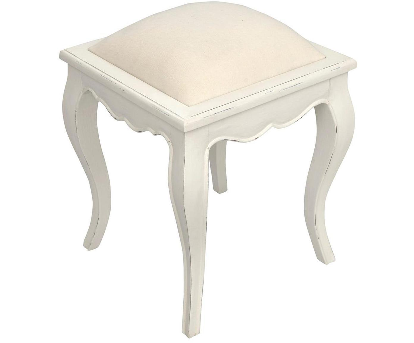 Taburete tapizado Murano, Tapizado: lino, Blanco, An 40 x Al 46 cm