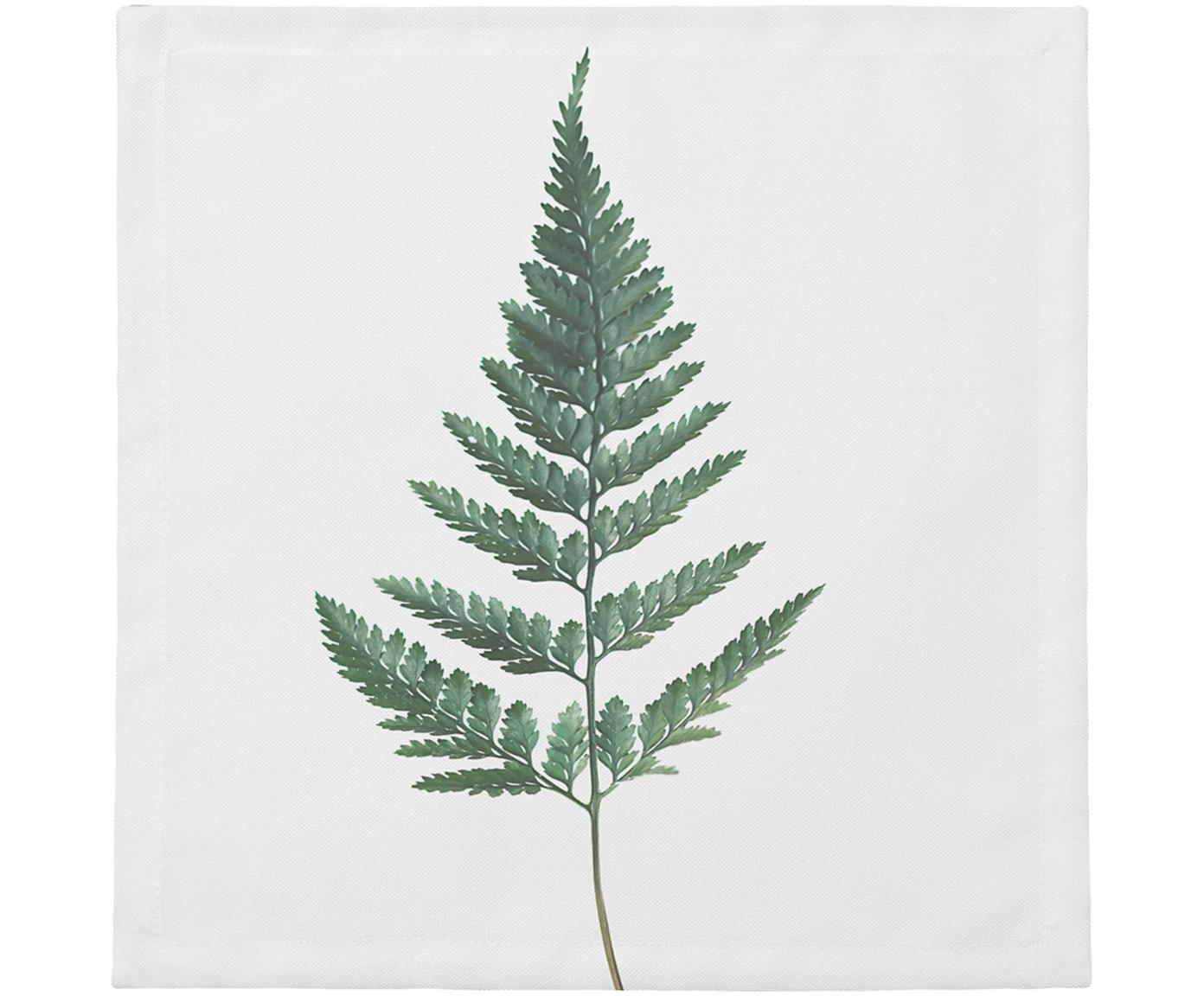 Stoffen servetten Fern, 4 stuks, Katoen, Wit, groen, 40 x 40 cm