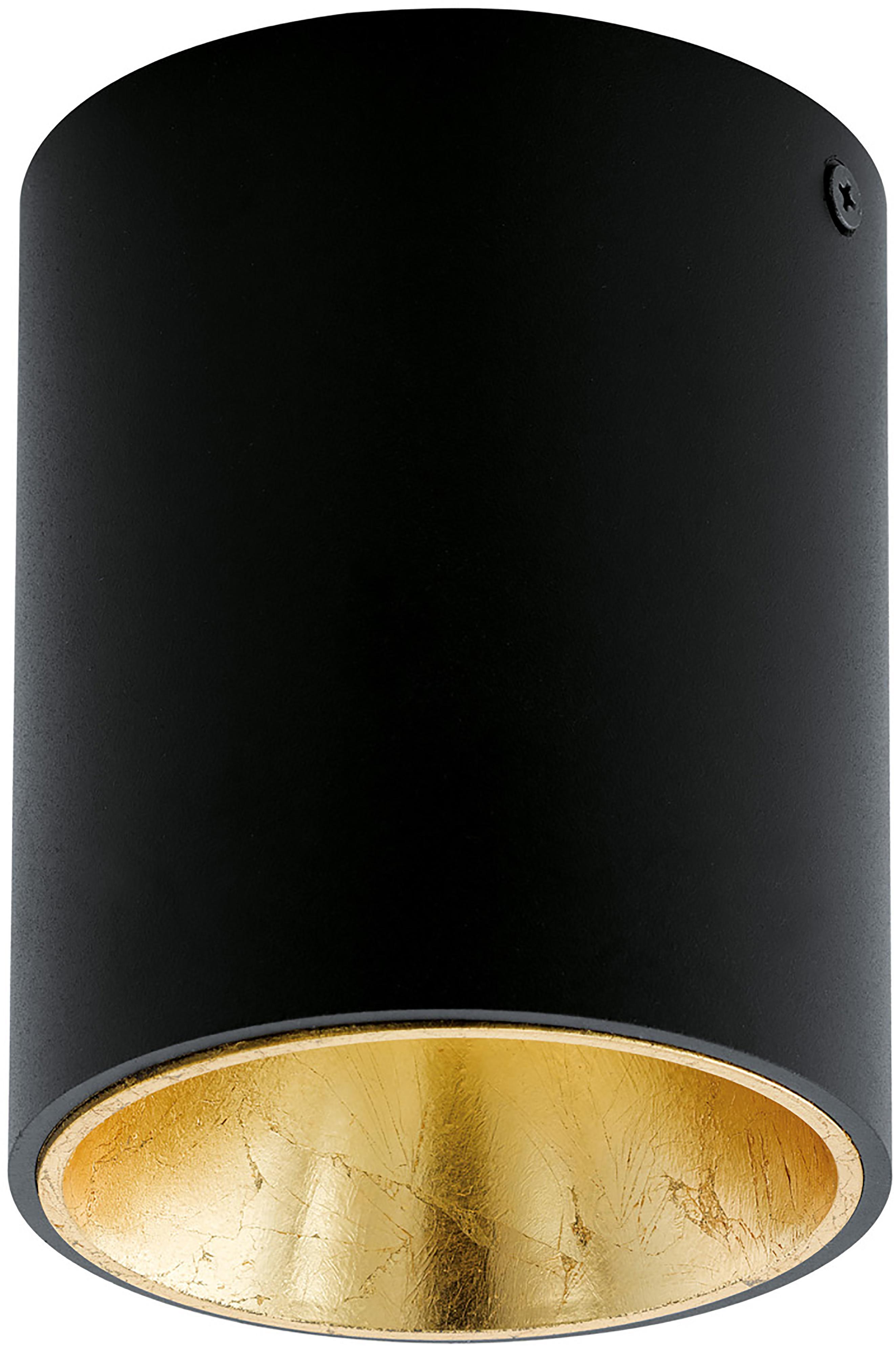 Plafondlamp Marty, Zwart, goudkleurig, Ø 10 x H 12 cm