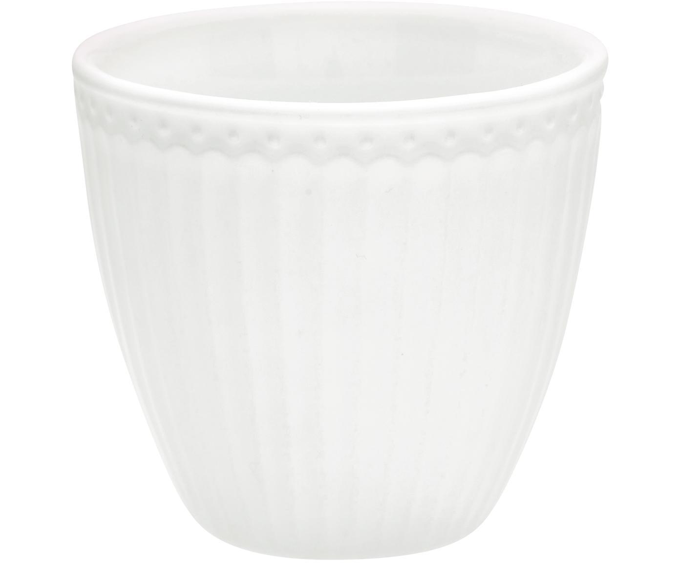 Handgefertigte Becher Alice in Weiß mit Reliefdesign, 2 Stück, Steingut, Weiß, Ø 10 x H 9 cm