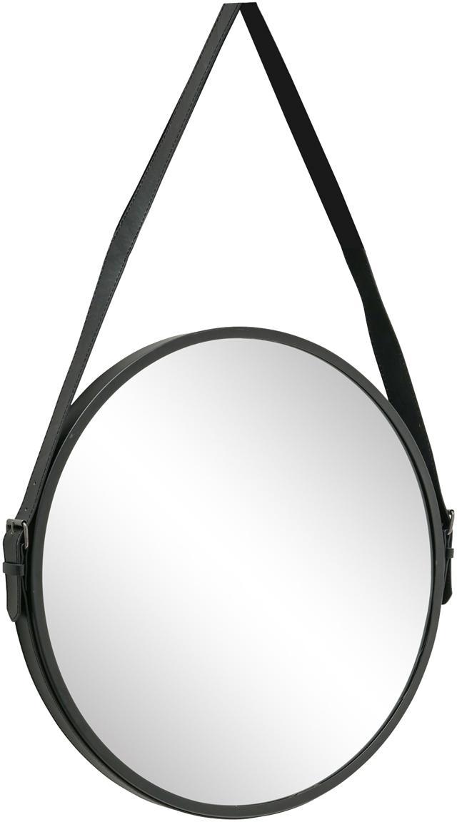 Ronde wandspiegel Paso met metalen lijst, Metaal, spiegelglas, Zwart, 48 x 73 cm