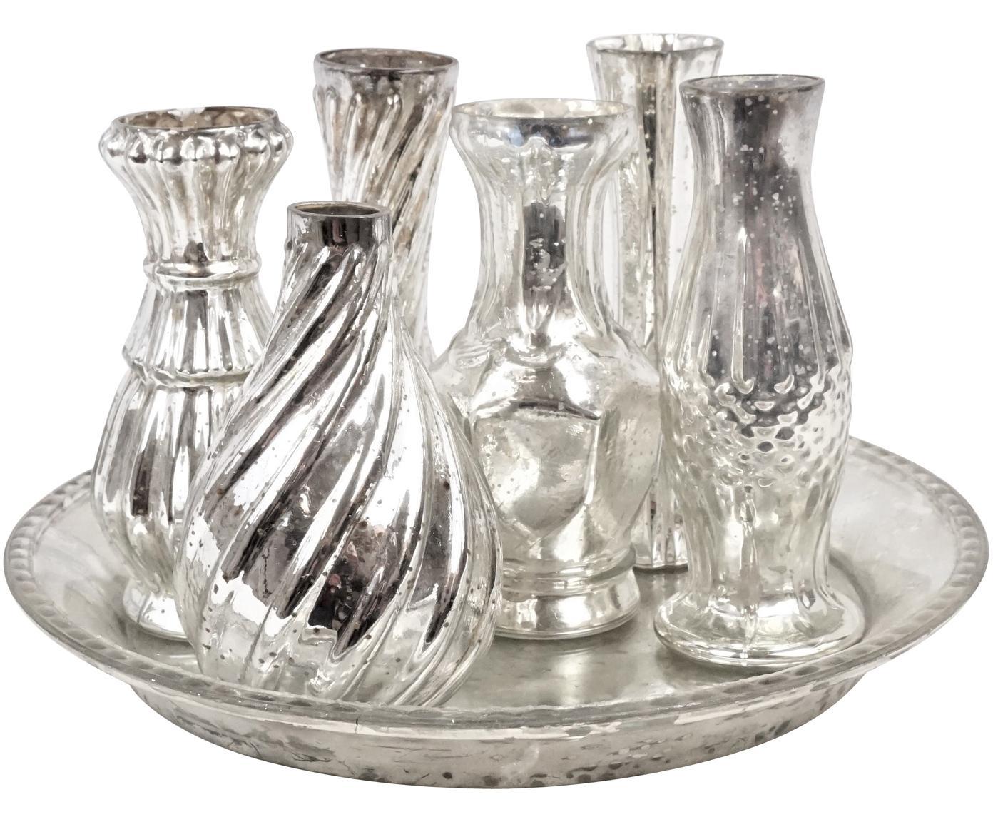 Glazen vazenset Poesie, 7-delig, Glas, Zilverkleurig, Verschillende formaten