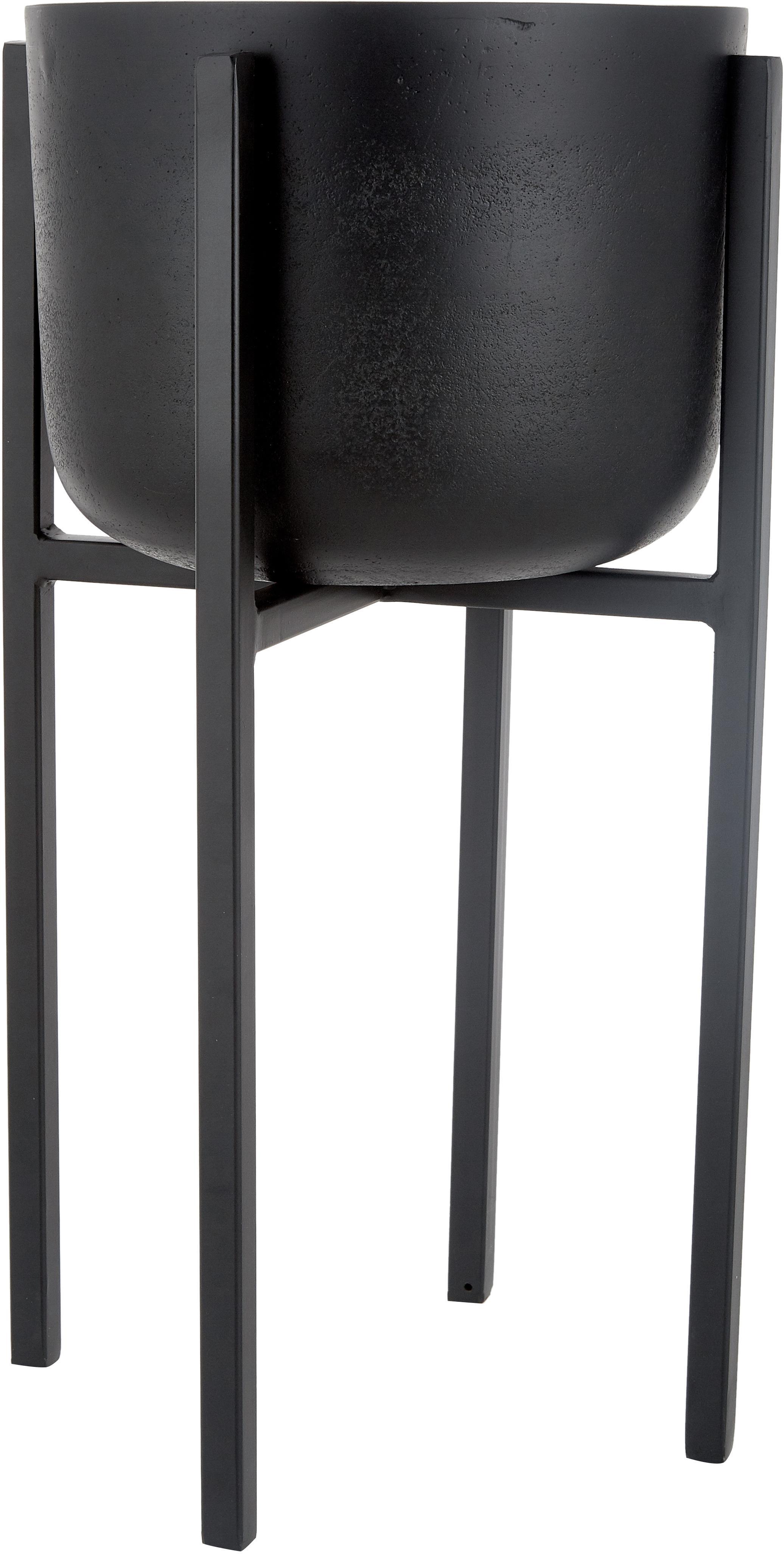 Übertopf Minell, Übertopf: Aluminium, oxidiert, besc, Gestell: Metall, beschichtet, Schwarz, Ø 28 x H 50 cm