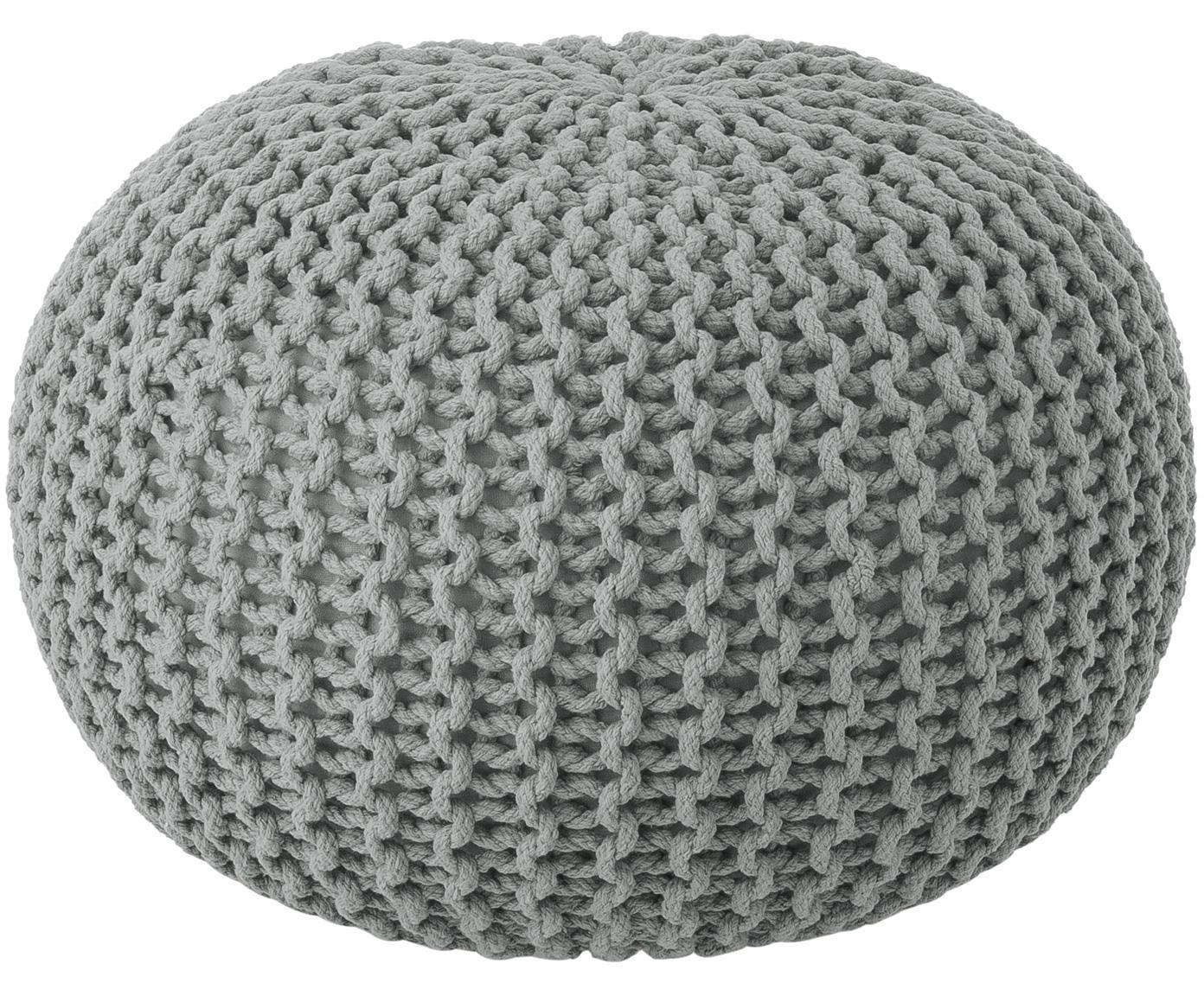 Puf de punto artesanal Dori, Tapizado: 100%algodón, Gris claro, Ø 55 x Al 35 cm