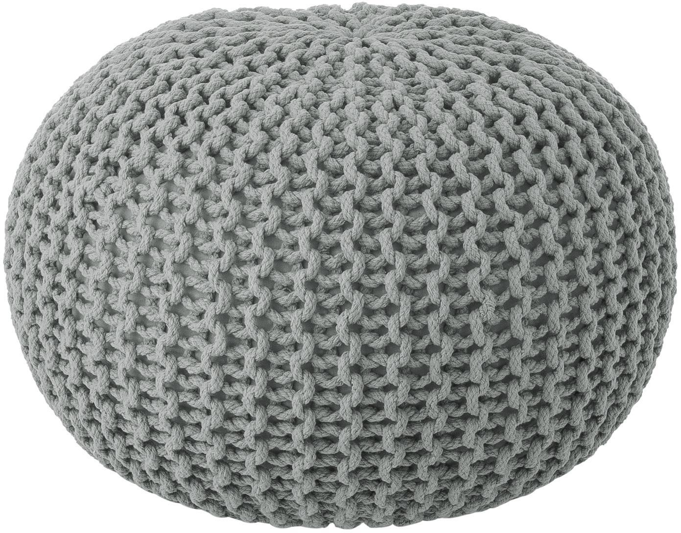 Handgemaakte poef Dori, Bekleding: 100% katoen, Grijs, Ø 55 x H 35 cm