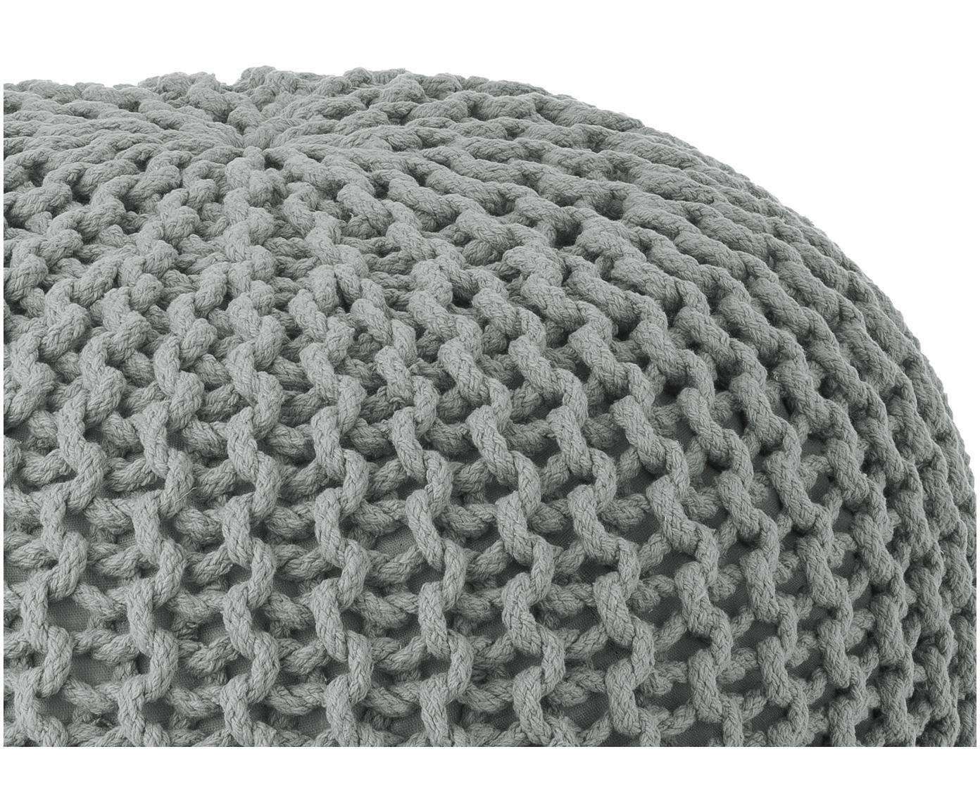 Ręcznie wykonany puf z dzianiny Dori, Tapicerka: 100% bawełna, Jasny szary, Ø 55 x W 35 cm