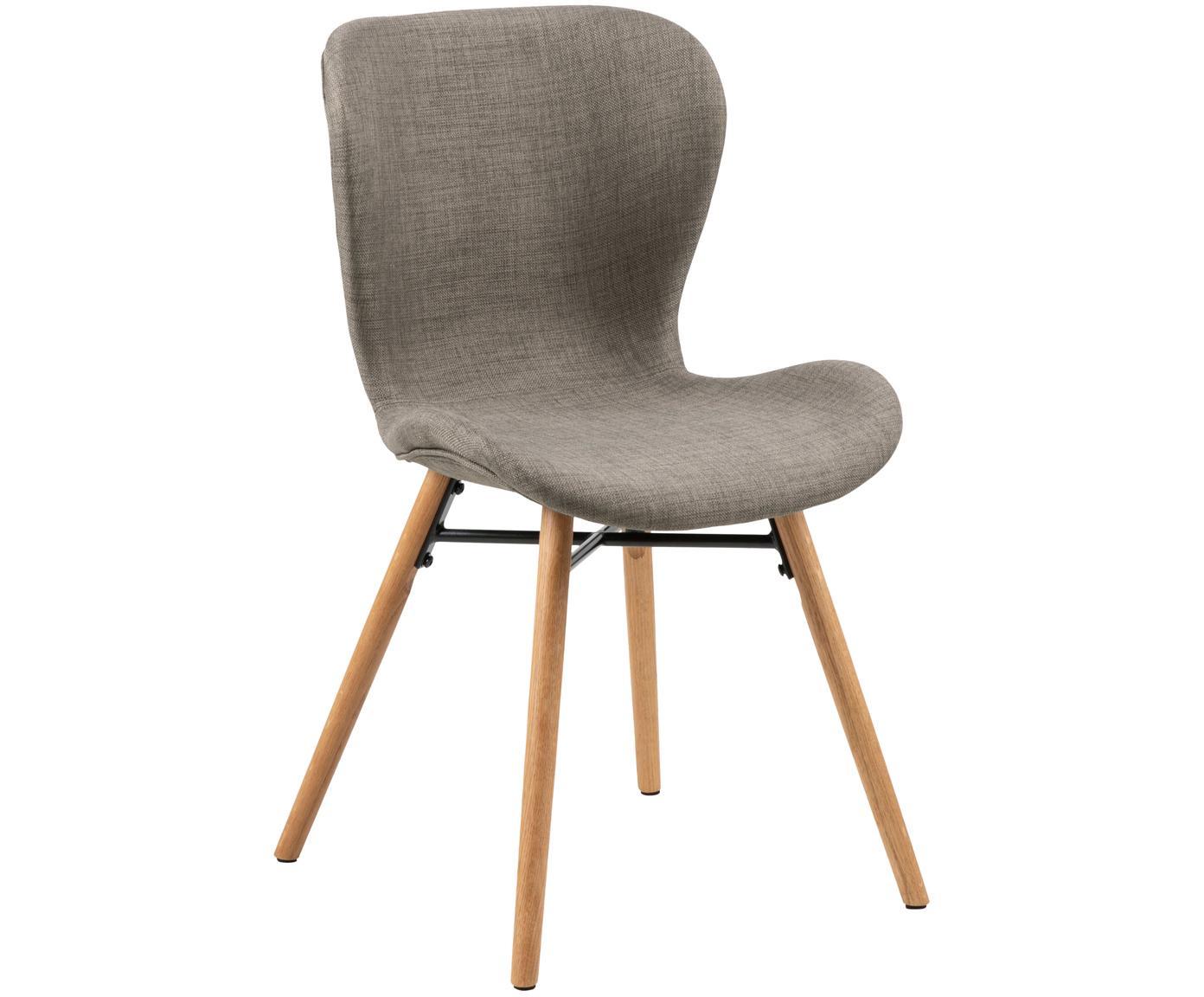 Krzesło tapicerowane Batilda, 2 szt., Tapicerka: poliester 25000 cykli w , Nogi: drewno dębowe, lite, laki, Khaki, S 56 x W 83 cm