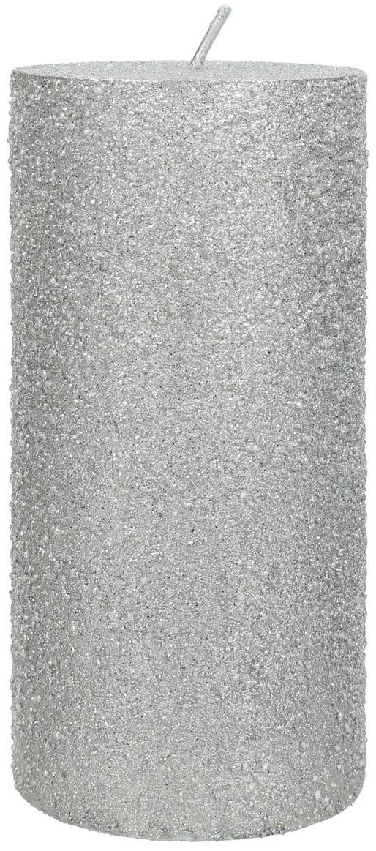 Candela pilastro Flair, Cera, Argentato, Ø 7 x Alt. 15 cm