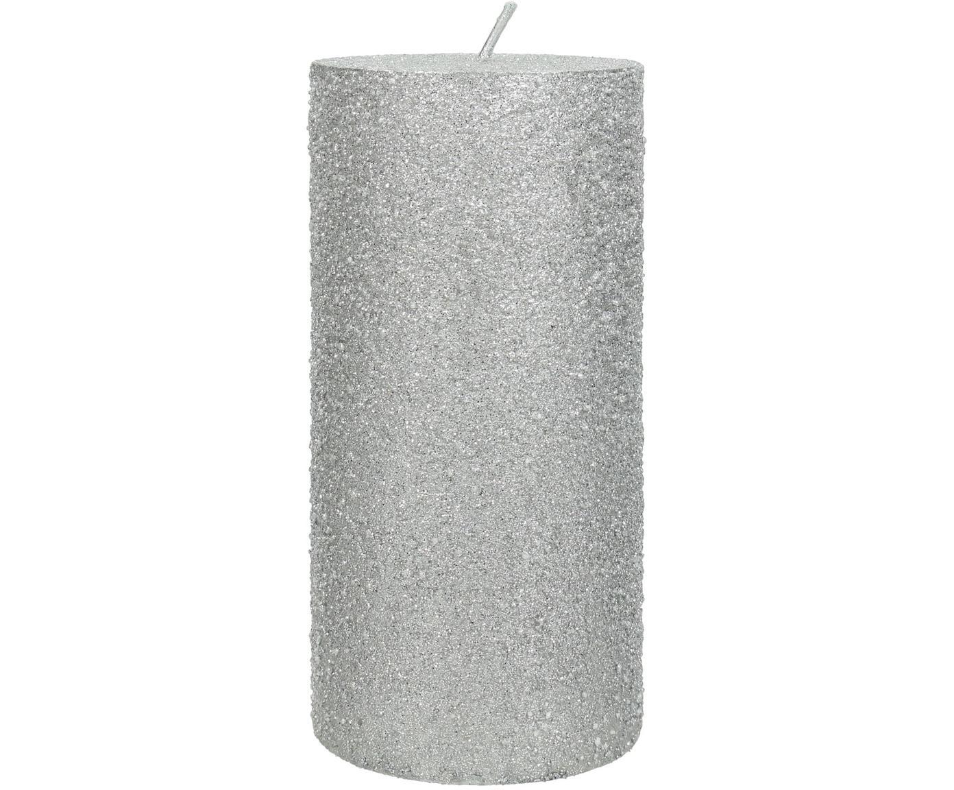 Stumpenkerze Flair, Wachs, Silberfarben, Ø 7 x H 15 cm