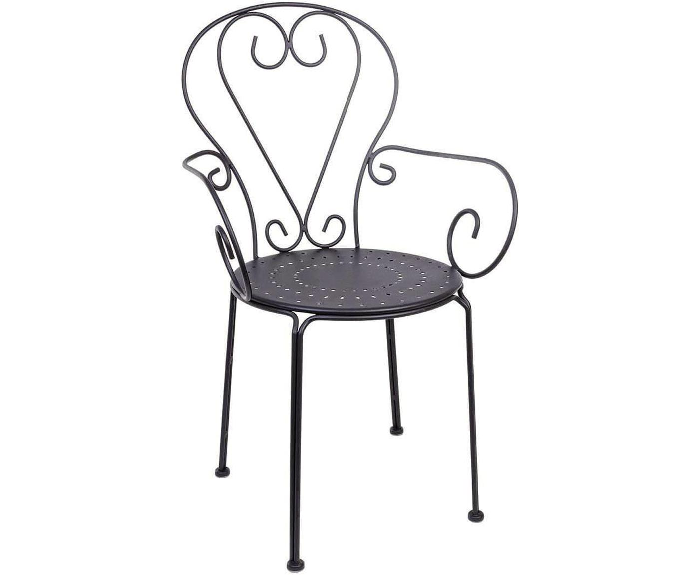 Silla Etienne, Acero tratado para exterior con pintura en polvo, Gris oscuro, An 49 x Al 89 cm