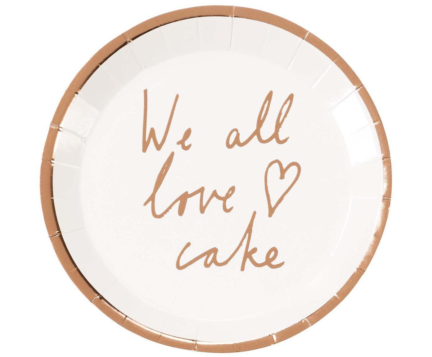 Papier-Teller We All Love Cake, 12 Stück, Papier, Weiß, Roségoldfarben, Ø 15 x H 2 cm
