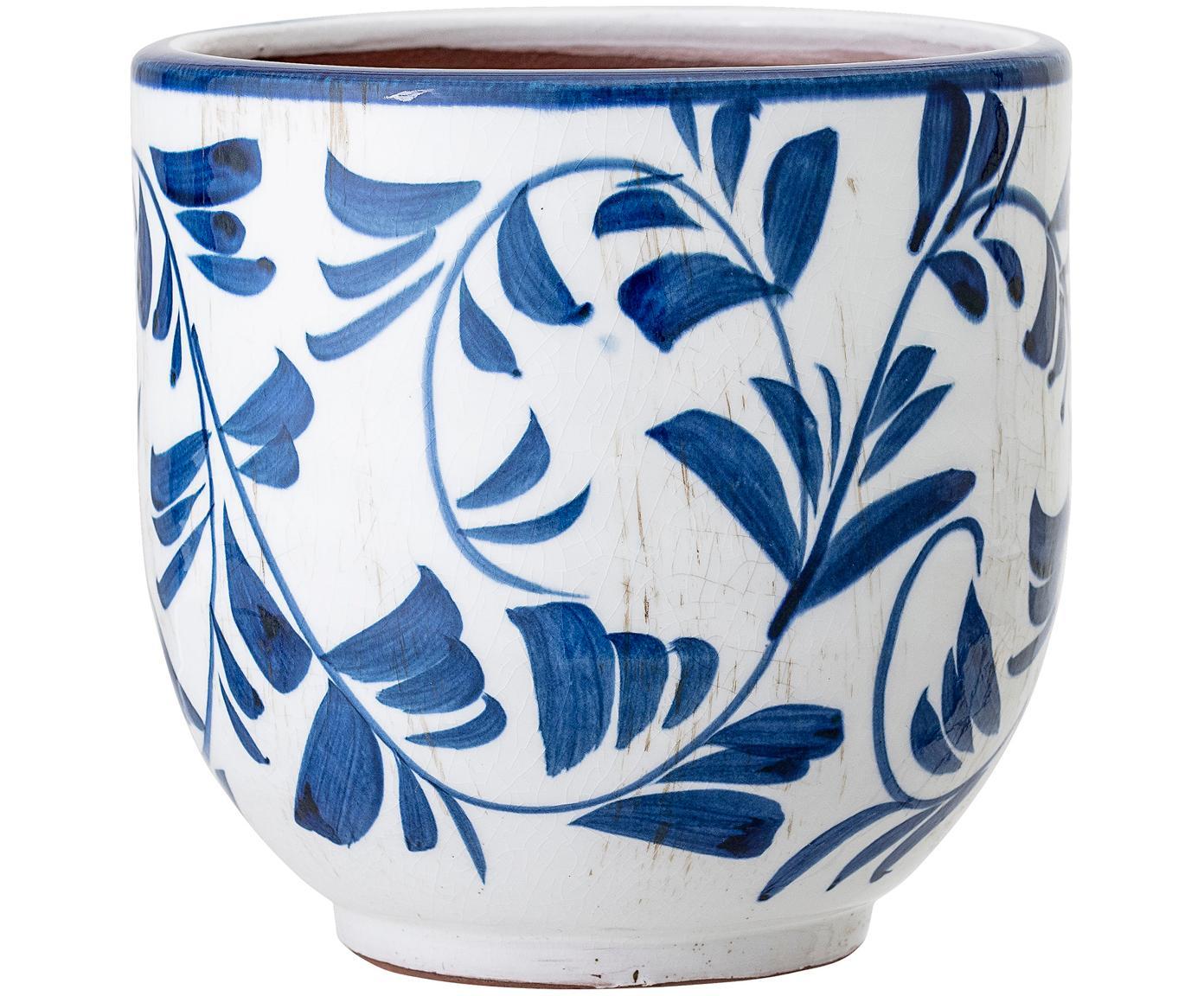 Macetero Jarl, Terracota, Azul, blanco, Ø 14 x Al 14 cm