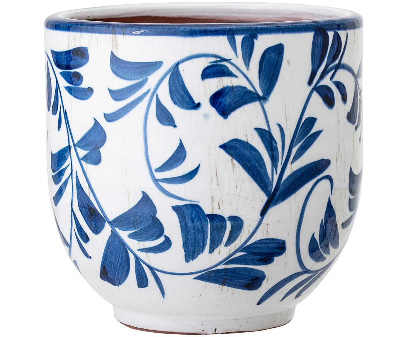 Übertopf Jarl, Terracotta, Blau, Weiss, Ø 14 x H 14 cm