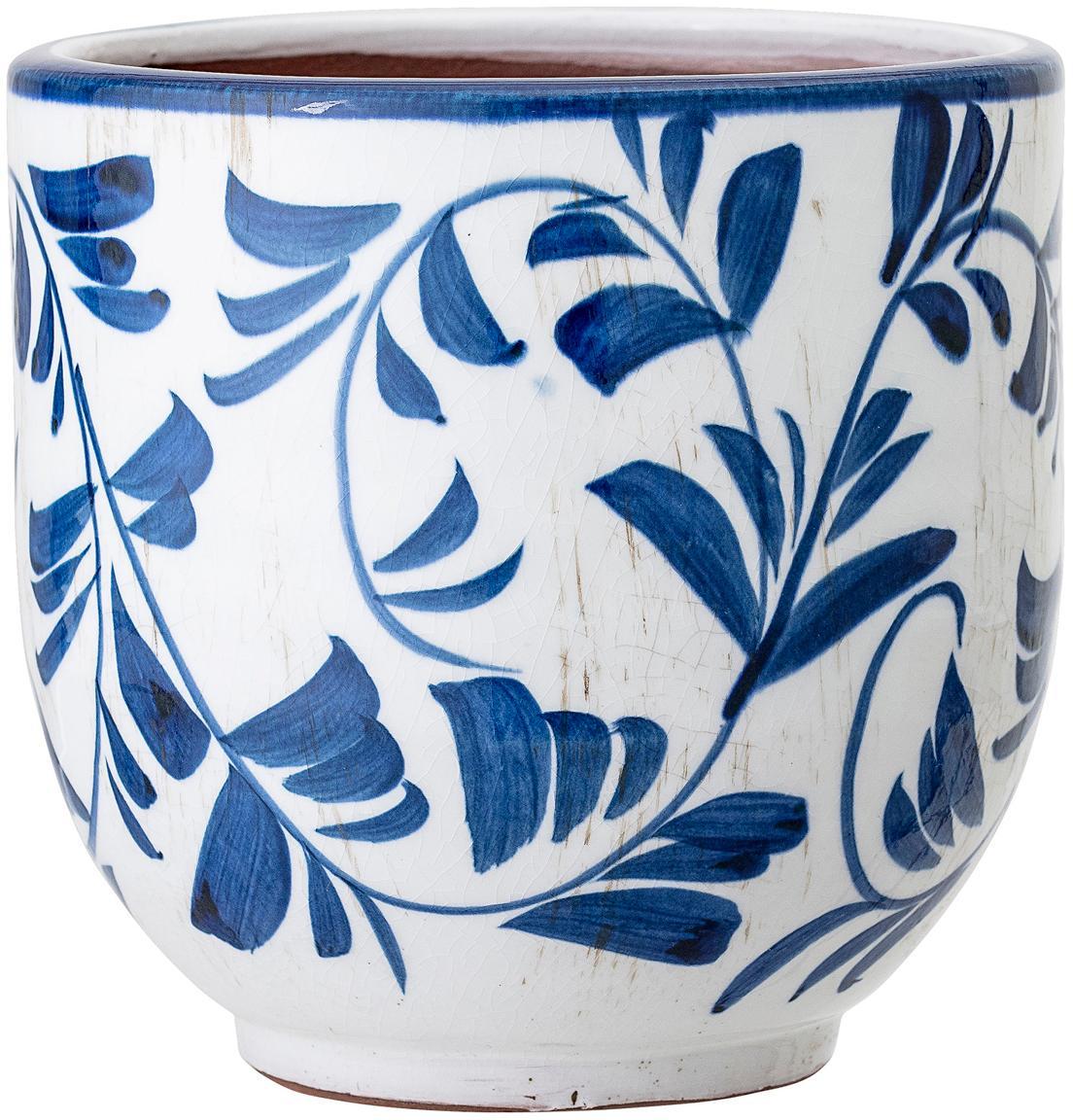 Kleiner Übertopf Jarl aus Terrakotta, Terrakotta, Blau, Weiß, Ø 14 x H 14 cm