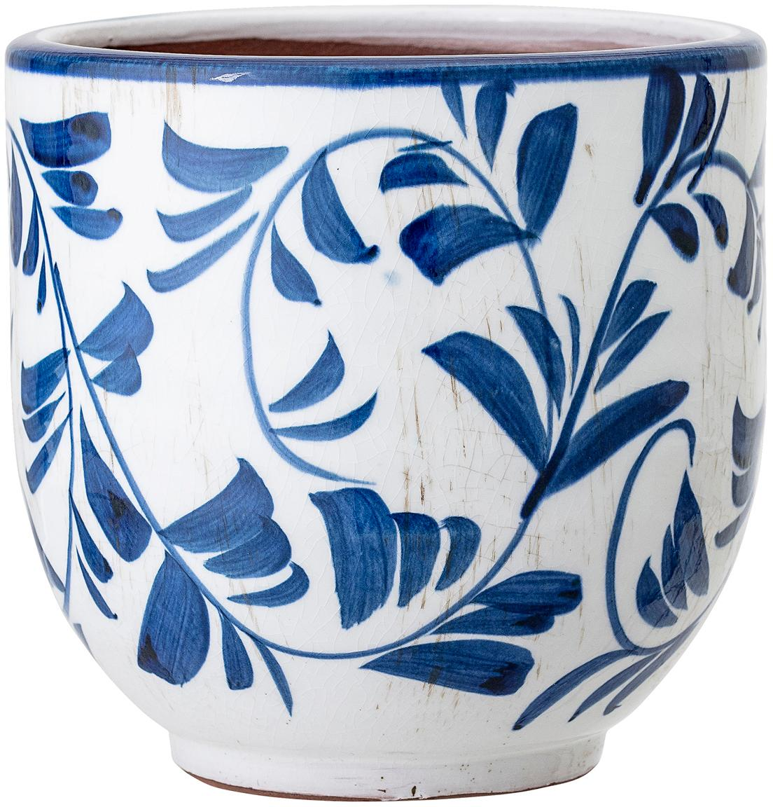 Portavaso in terracotta Jarl, Terracotta, Blu, bianco, Ø 14 x Alt. 14 cm