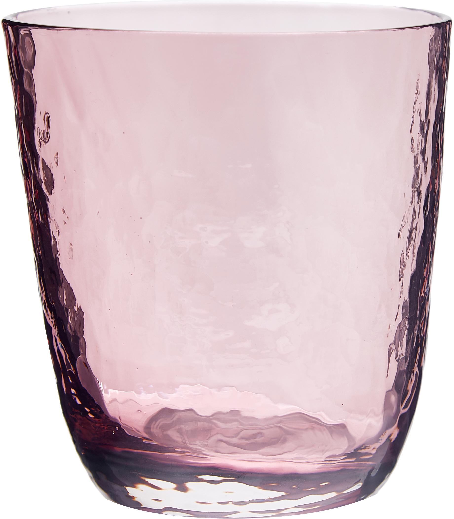 Vasos de vidrio soplado Hammered, 4uds., Vidrio soplado, Lila, transparente, Ø 9 x Al 10 cm