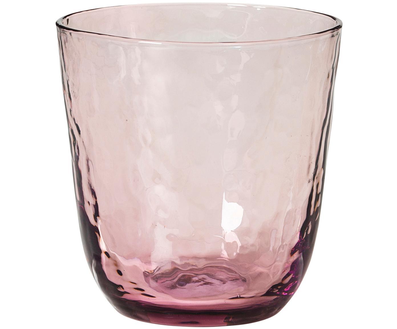 Szklanka do wody ze szkła dmuchanego  Hammered, 4 szt., Szkło dmuchane, Purpurowy, transparentny, Ø 9 x W 10 cm