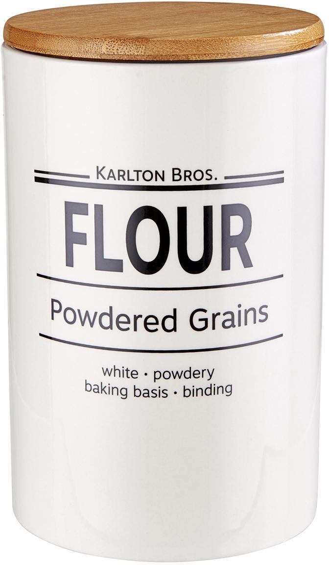 Aufbewahrungsdose Karlton Bros. Flour, Porzellan, Weiß, Schwarz, Braun, Ø 11 x H 18 cm
