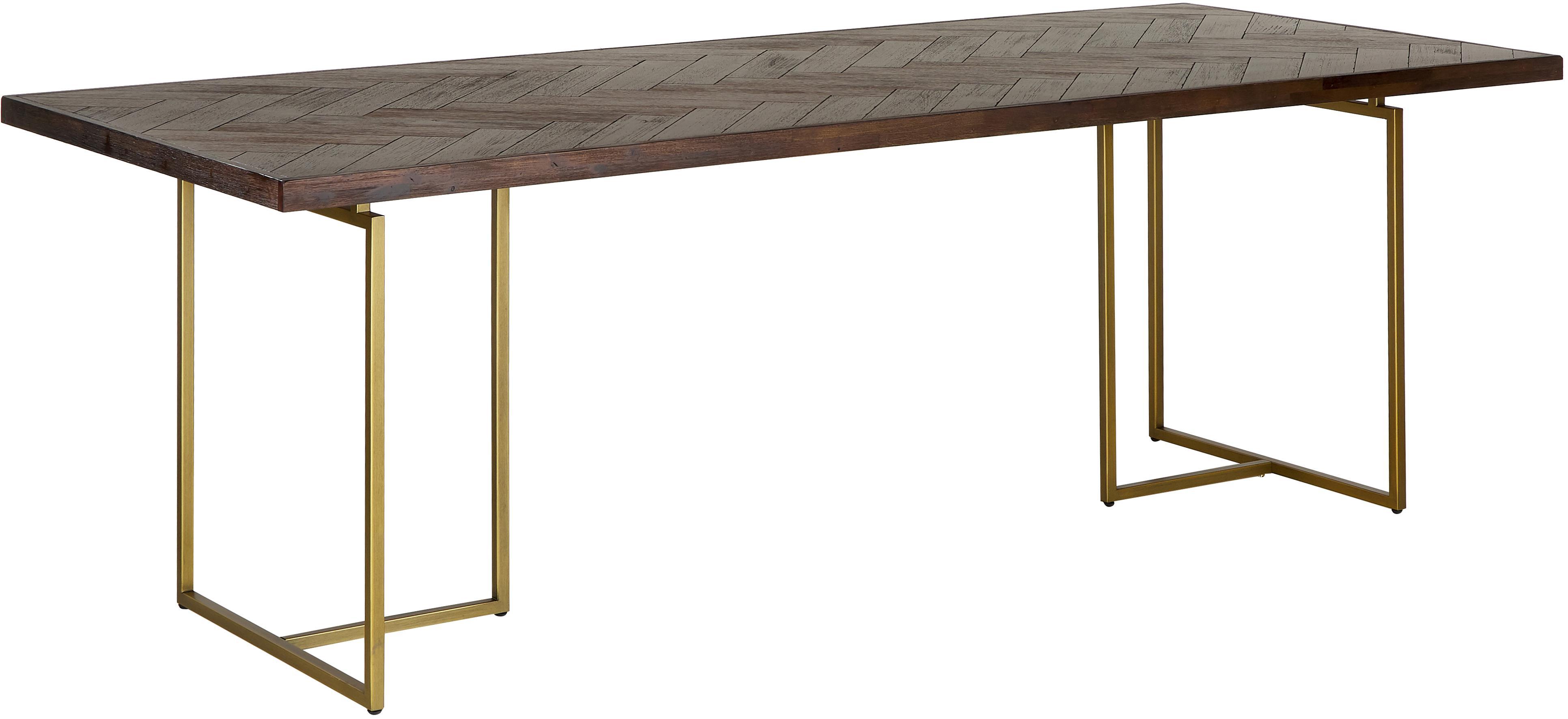 Tavolo con finitura in acacia Class, Piano d'appoggio: pannelli di fibra a media, Gambe: metallo, verniciato a pol, Marrone, Larg. 220 x Prof. 90 cm