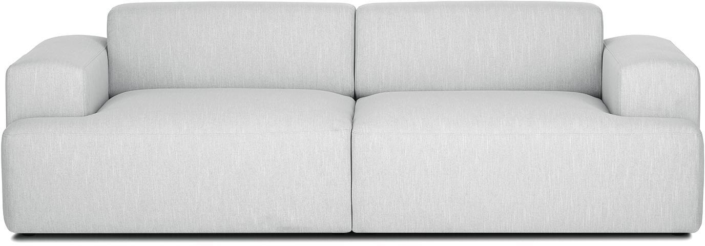 Bank Melva (3-zits), Bekleding: polyester, Frame: massief grenenhout, spaan, Poten: grenenhout, Geweven stof lichtgrijs, B 240 x D 101 cm