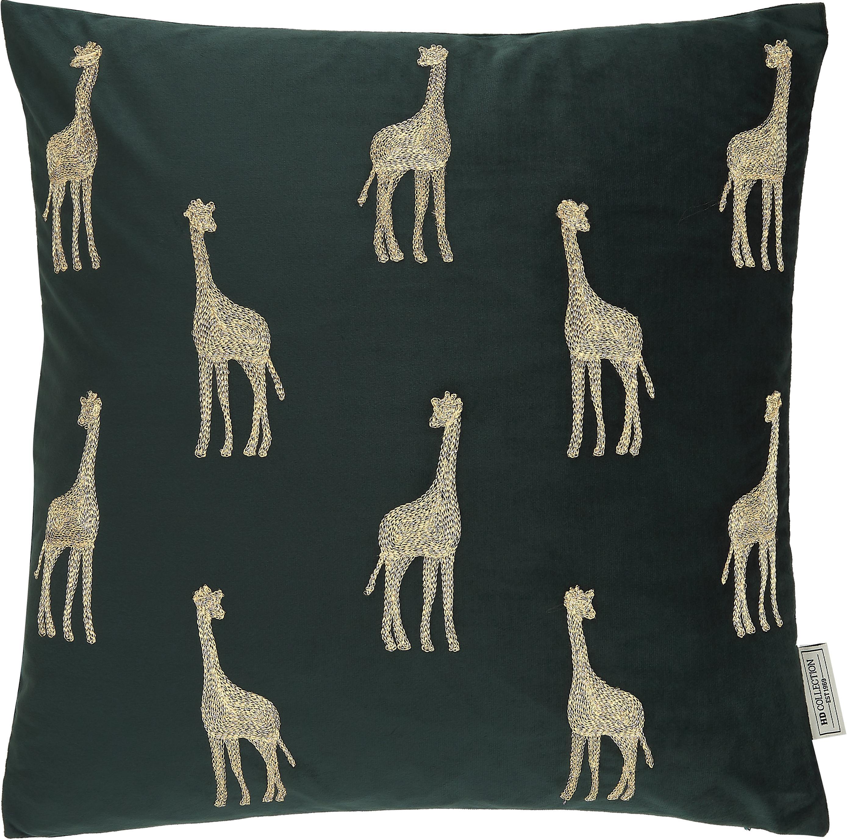 Geborduurd fluwelen kussen Giraffe, met vulling, Fluweel, Groen, goudkleurig, 45 x 45 cm