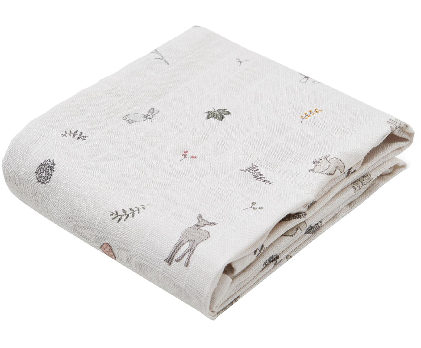Mulltücher Fawn aus Bio-Baumwolle, 2 Stück, Bio-Baumwolle, GOTS-zertifiziert, Weiß, Braun, Beige, Gelb, Rosa, Grün, 70 x 70 cm