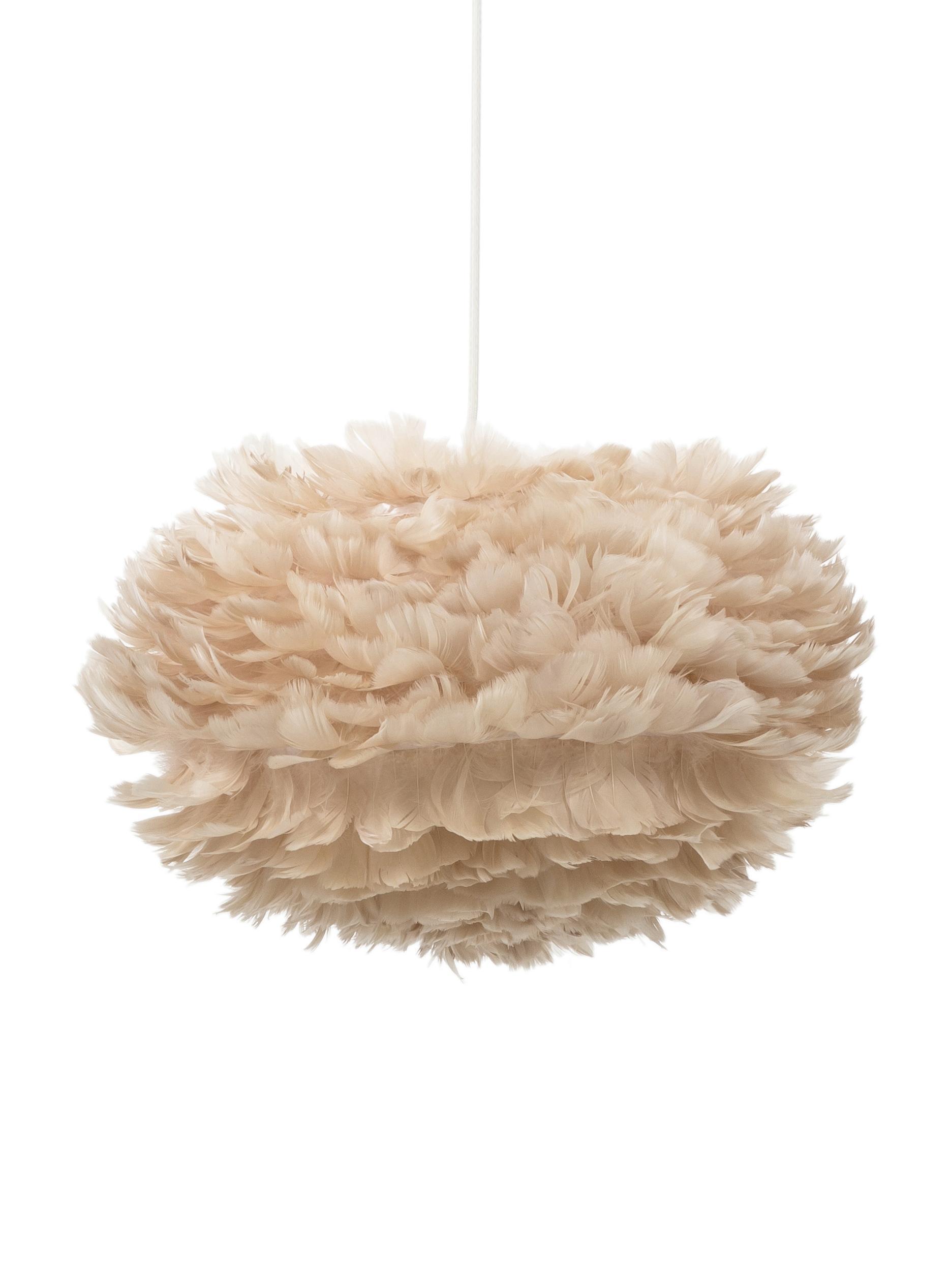 Lámpara de techo de plumas Eos, Pantalla: plumas de ganso, acero, Cable: tela, plástico, Beige, blanco, Ø 45 x Al 30 cm
