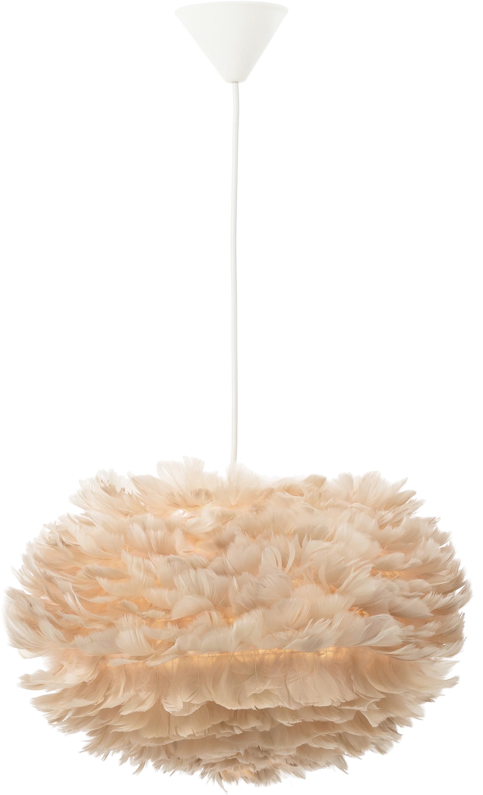 Pendelleuchte Eos aus Federn, Lampenschirm: Gänsefedern, Stahl, Beige, Weiß, Ø 45 x H 30 cm